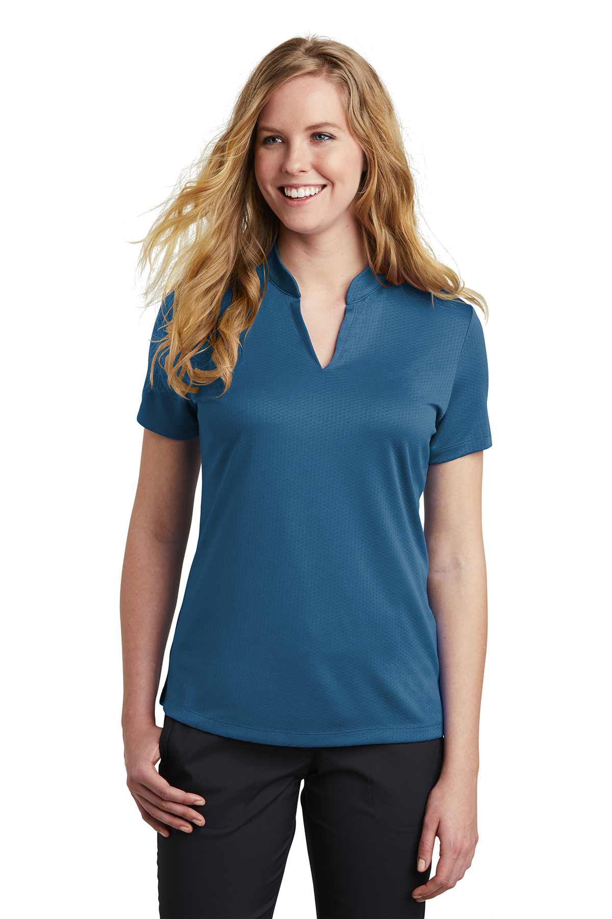 Nike Ladies Dri Fit Hex Textured V Neck Top Polosknits Sanmar