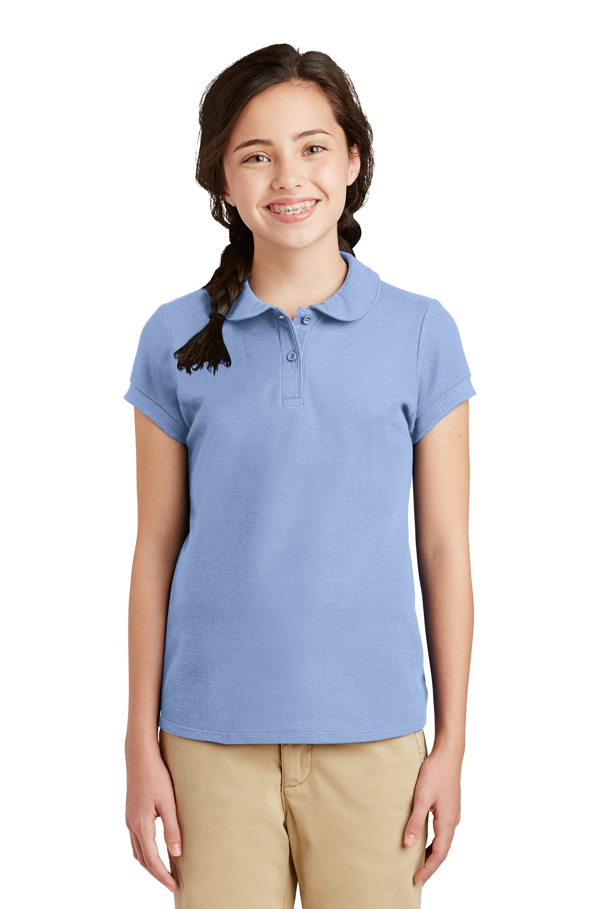 b1f4ee0237cb Port Authority® Girls Silk Touch™ Peter Pan Collar Polo