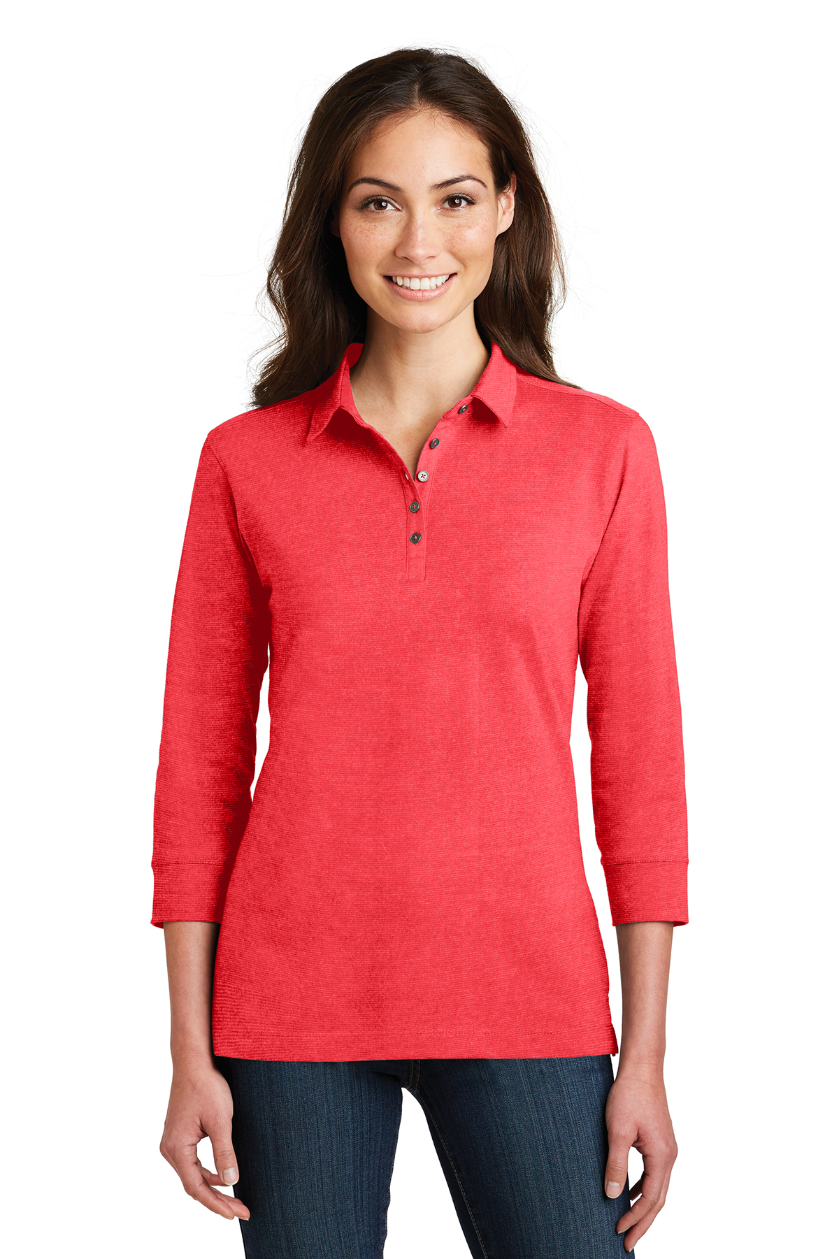 ab61a9fd8 Port Authority® Ladies 3/4-Sleeve Meridian Cotton Blend Polo | Easy ...