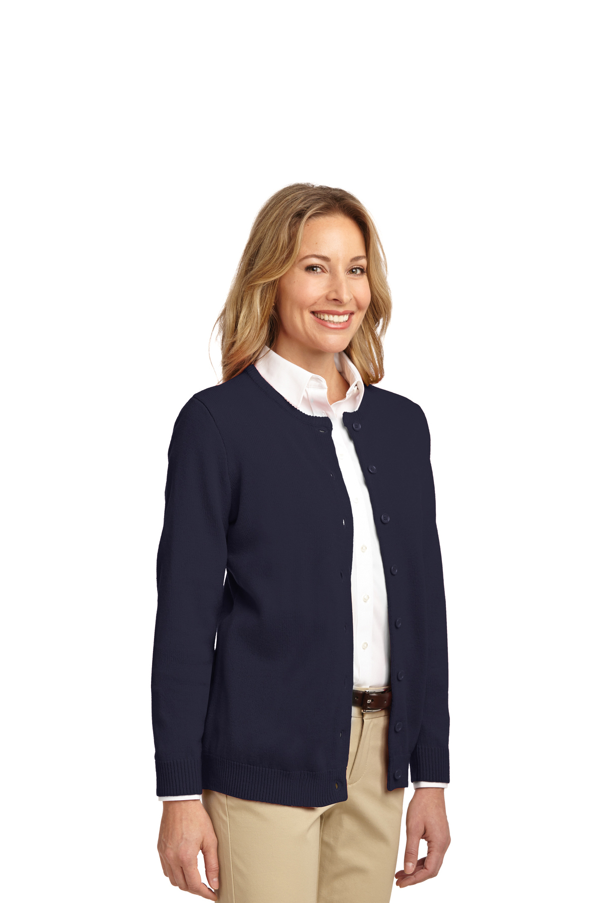 0530b80583 ... Port Authority® Ladies Value Jewel-Neck Cardigan Sweater. A maximum of  8 logos have been uploaded. Please remove a logo from My Logos to continue