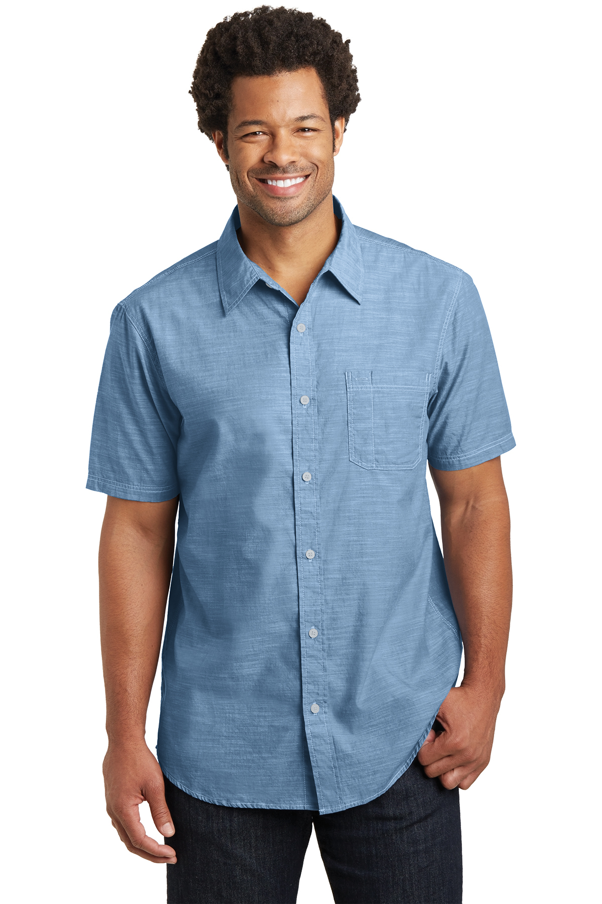 4fd1086b District Made® Mens Short Sleeve Washed Woven Shirt | Cotton ...