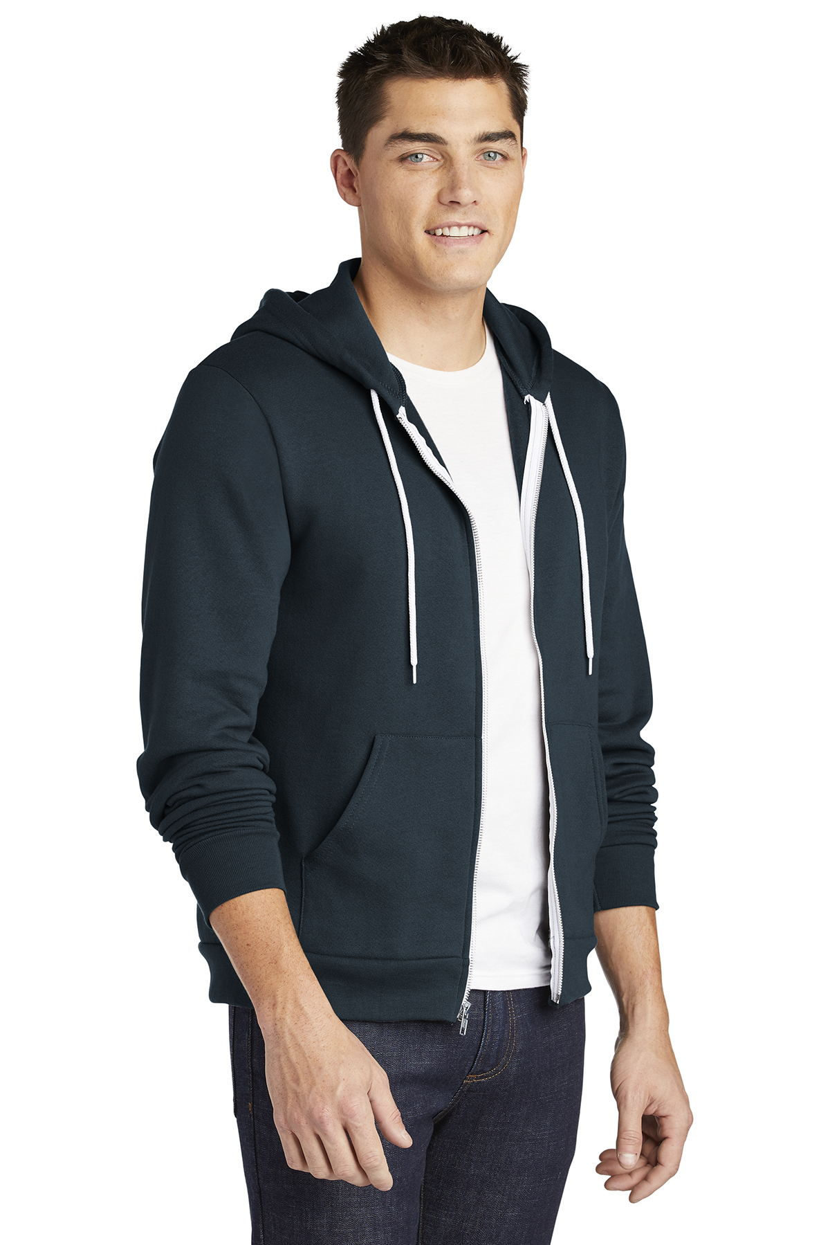 F497 American Apparel Mens Flex Fleece Long Sleeve Zip Hoodie