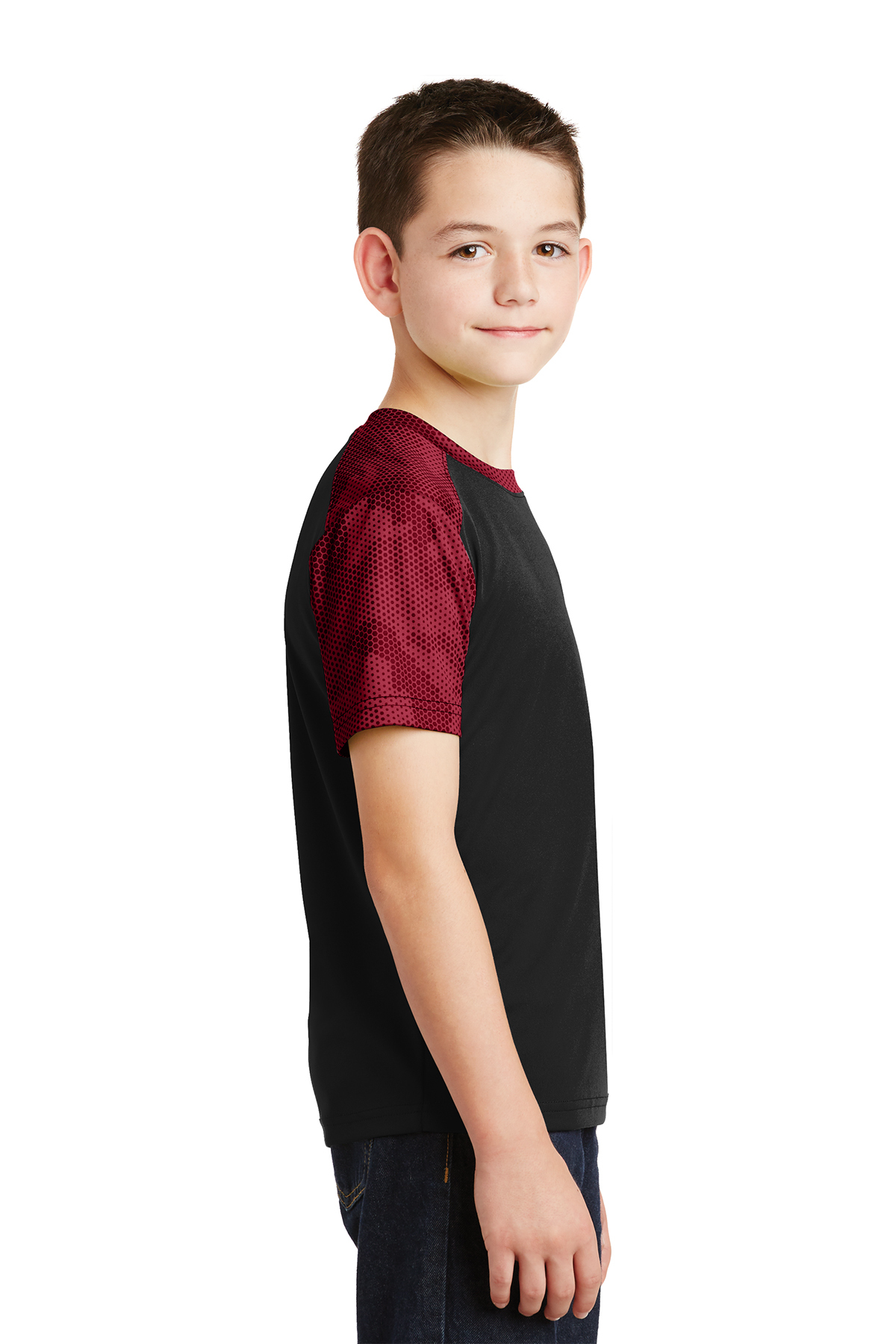 Sport-Tek Boys New Short Sleeve Polyester Interlock Colorblock T-Shirt YST371