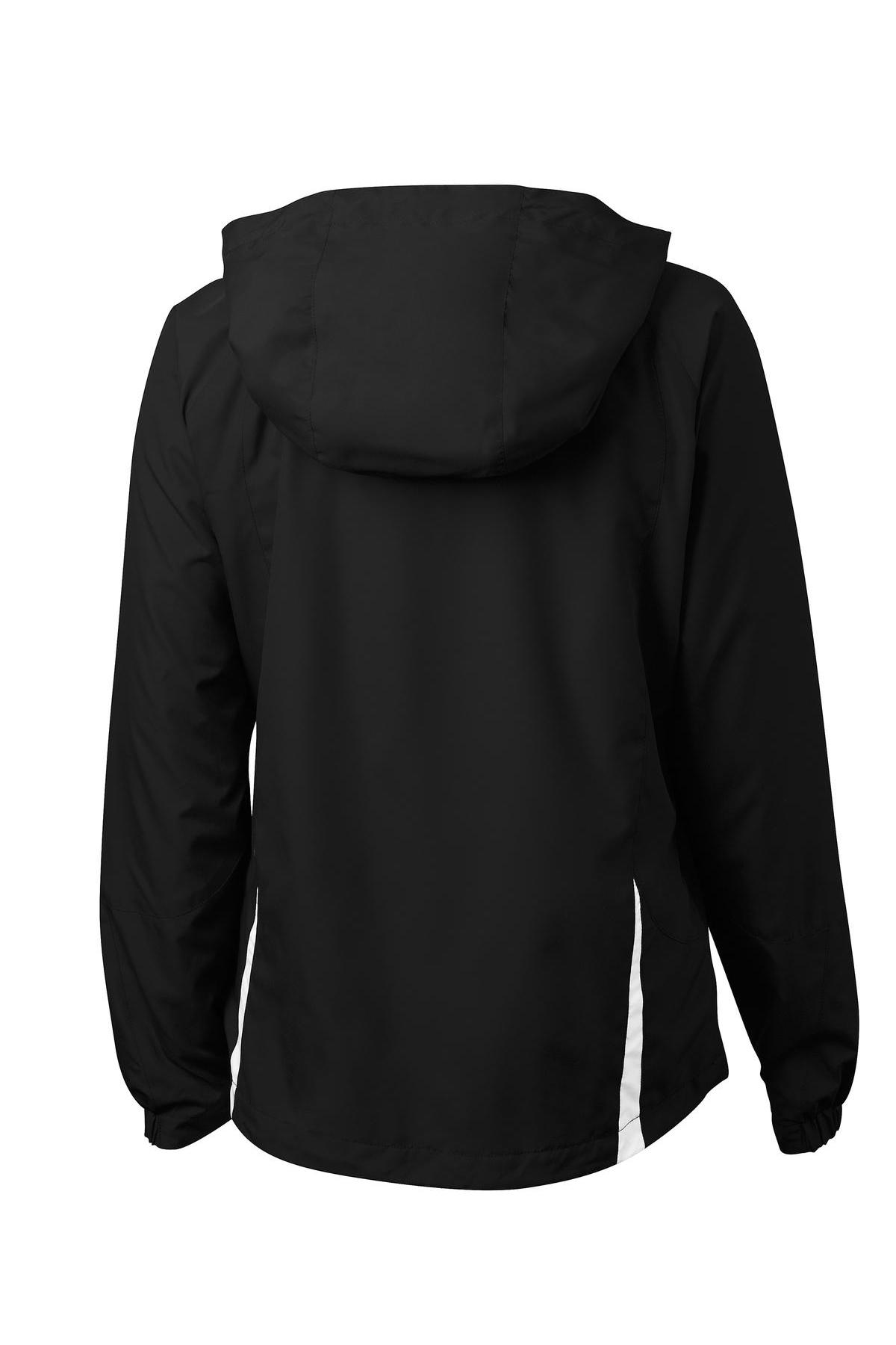 Black//White S Sport-Tek Ladies ClrBlok Hooded Raglan Jacket