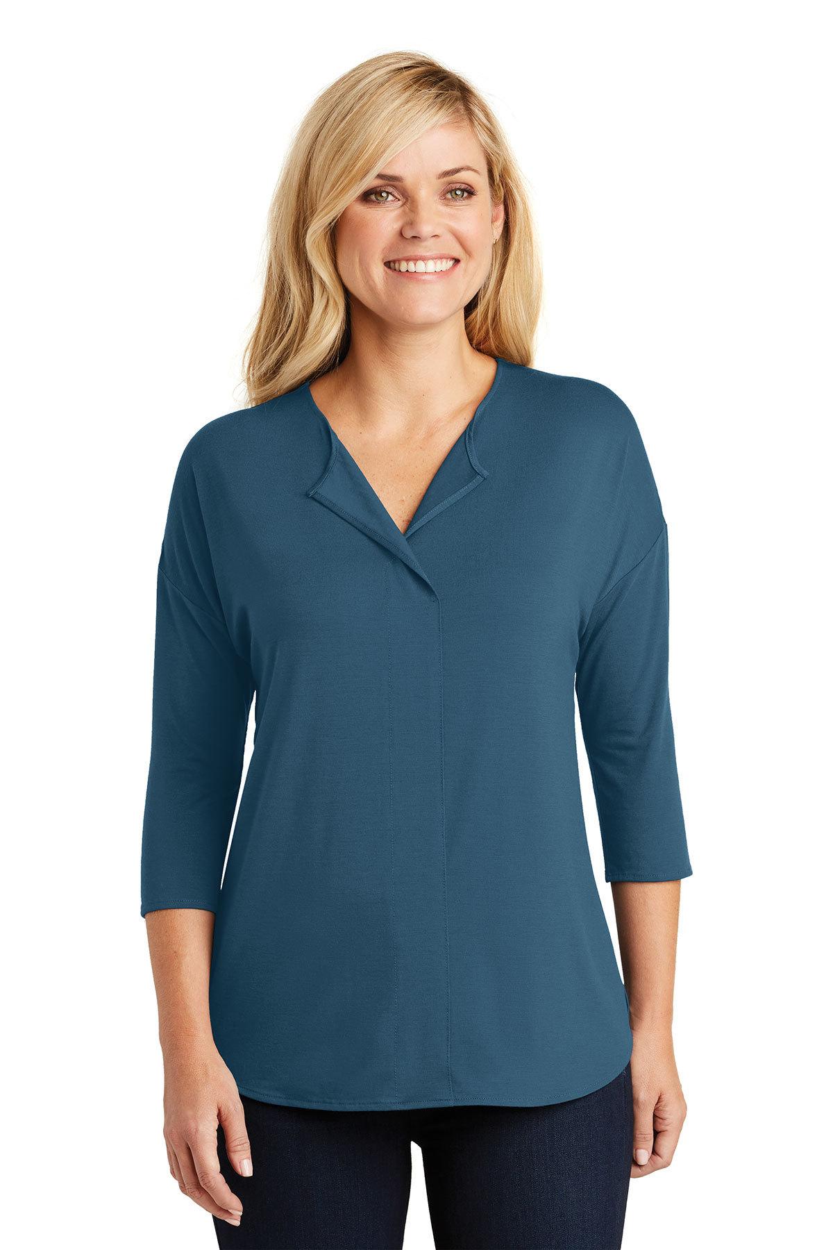 ce7fef9bcf1 Port Authority® Ladies Concept 3/4-Sleeve Soft Split Neck Top | Easy ...