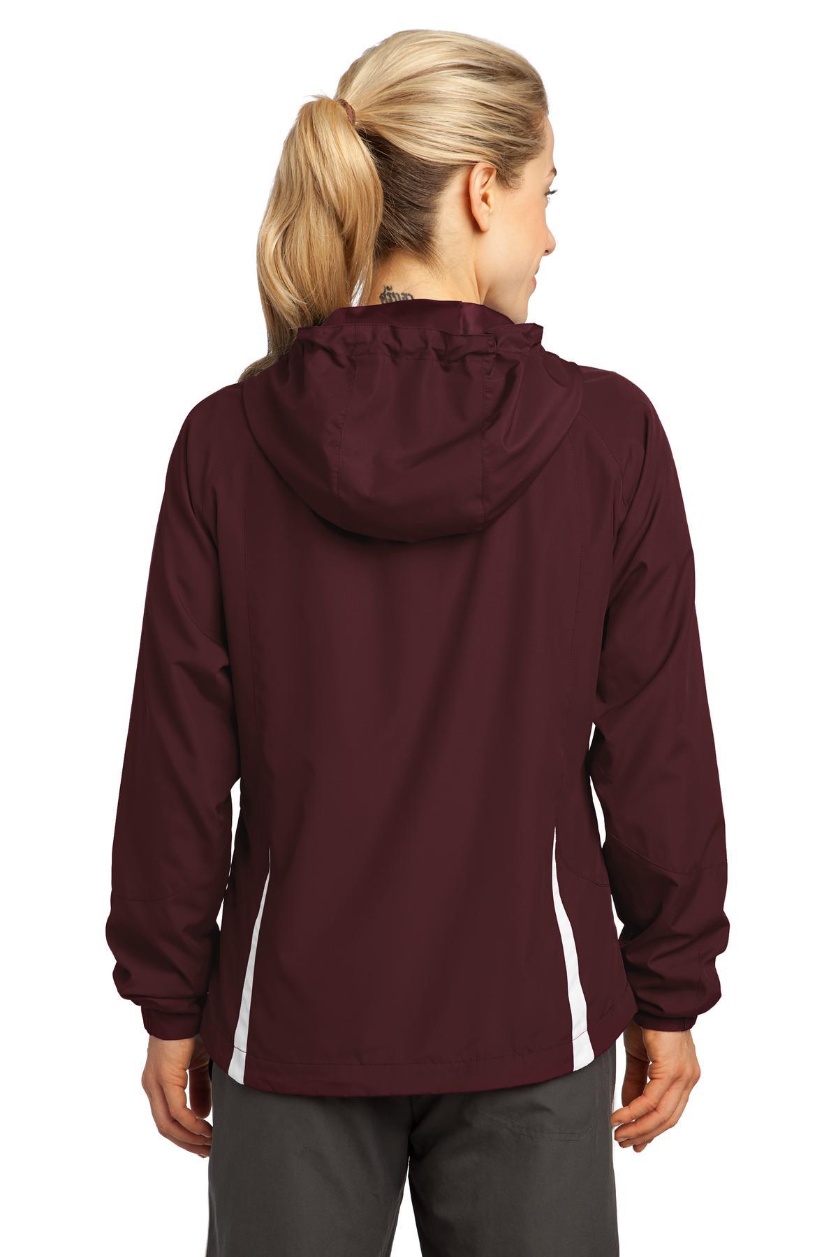 9884b476 Sport-Tek® Ladies Colorblock Hooded Raglan Jacket | Sport-Tek ...