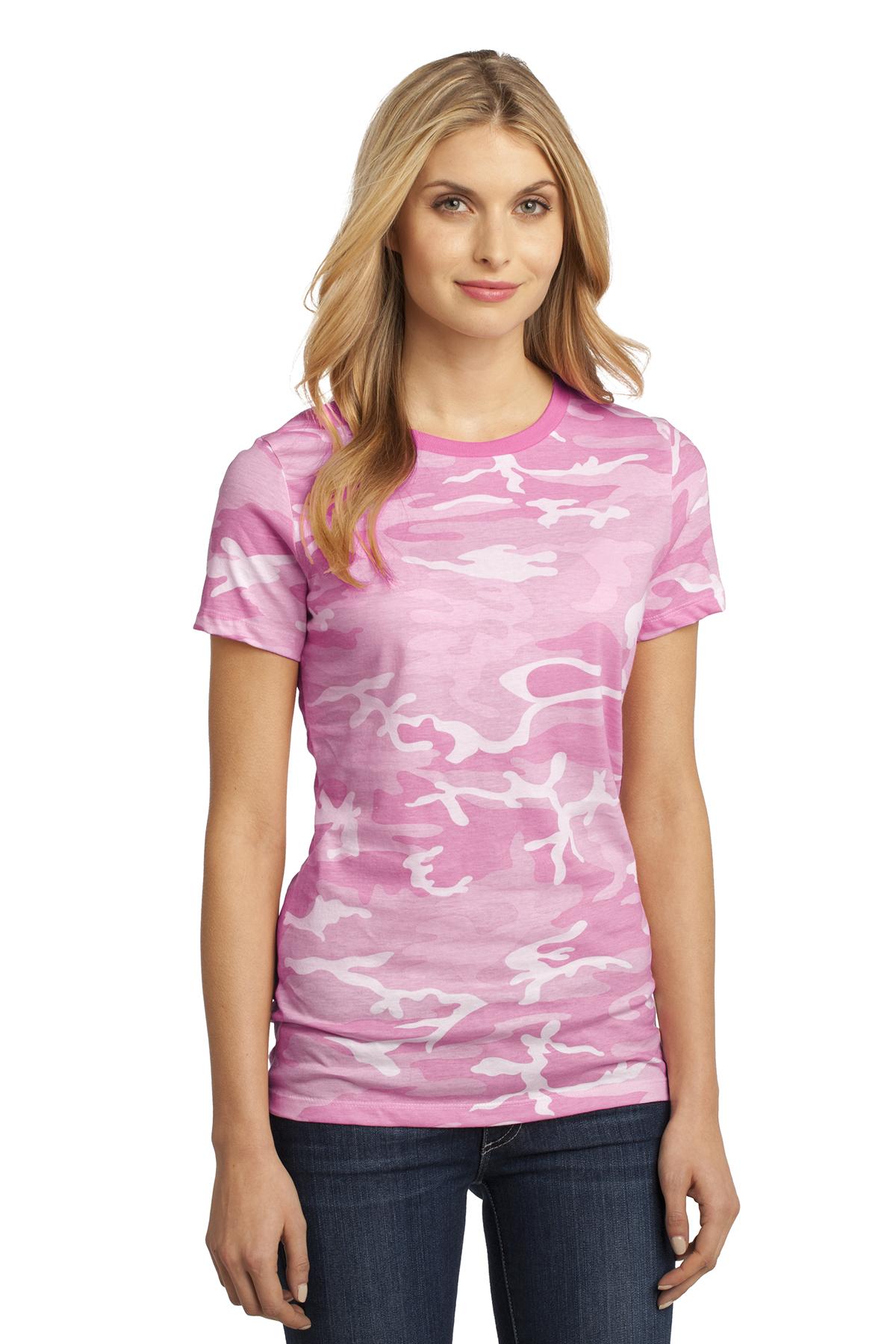 dbafdac6cfb1 District made ladies perfect weight camo crew tee cotton shirts sanmar jpg  1200x1800 Pink camo shirts