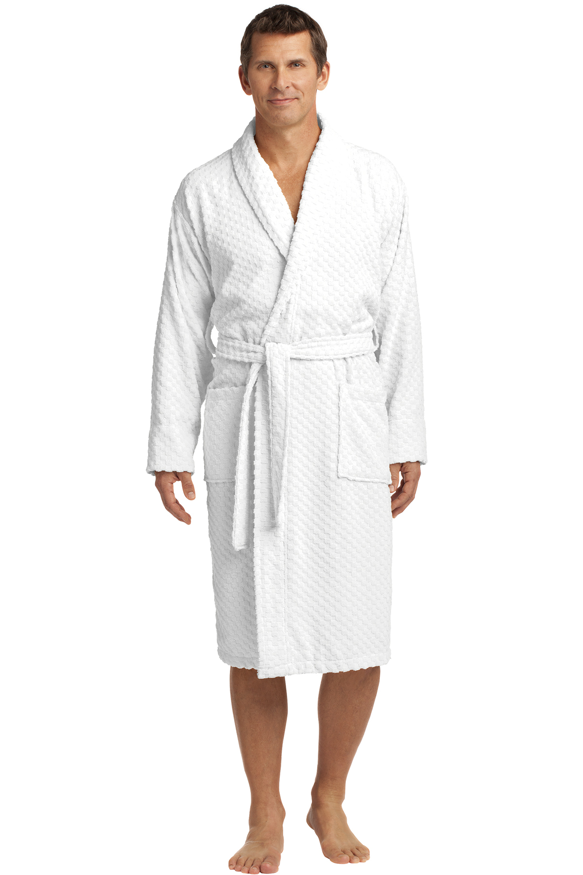 1413116e88 Port Authority® Checkered Terry Shawl Collar Robe