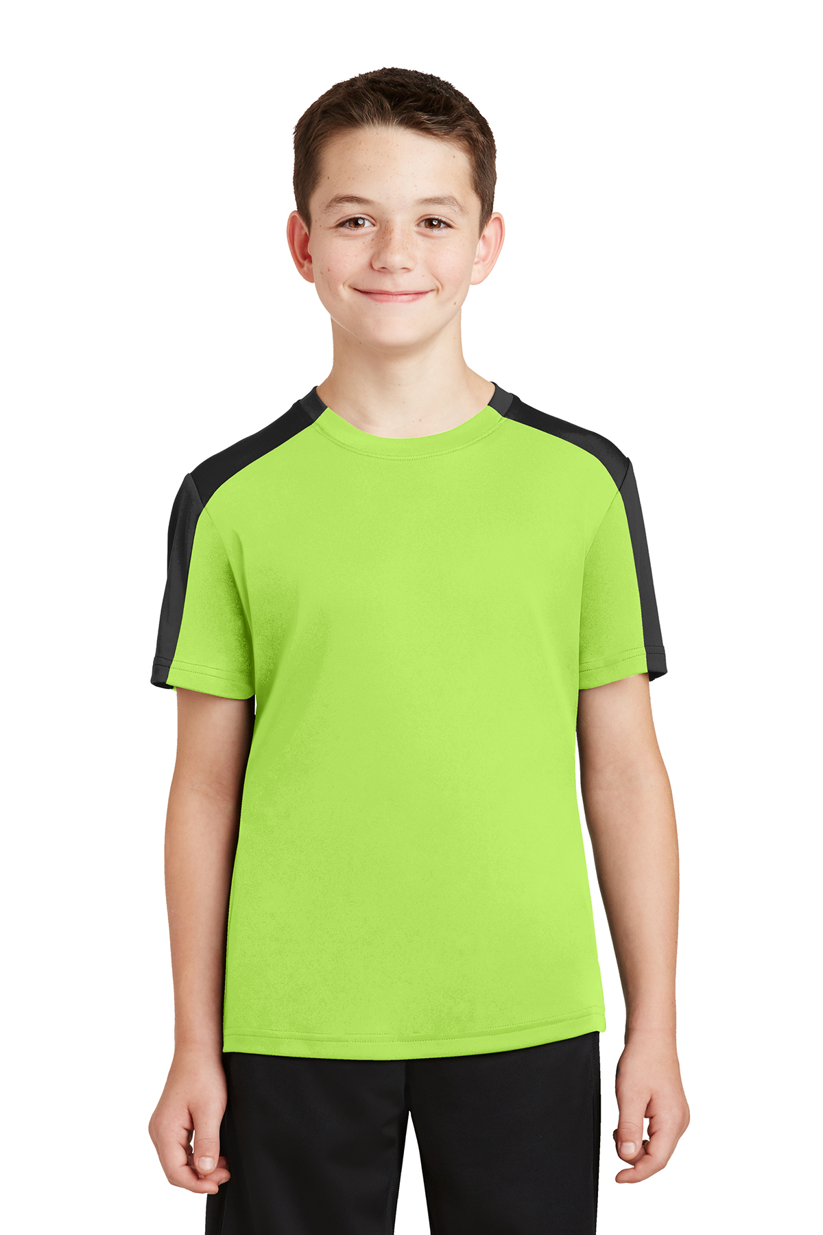 ef45a814248696 Sport-Tek® Youth PosiCharge® Competitor™ Sleeve-Blocked Tee ...