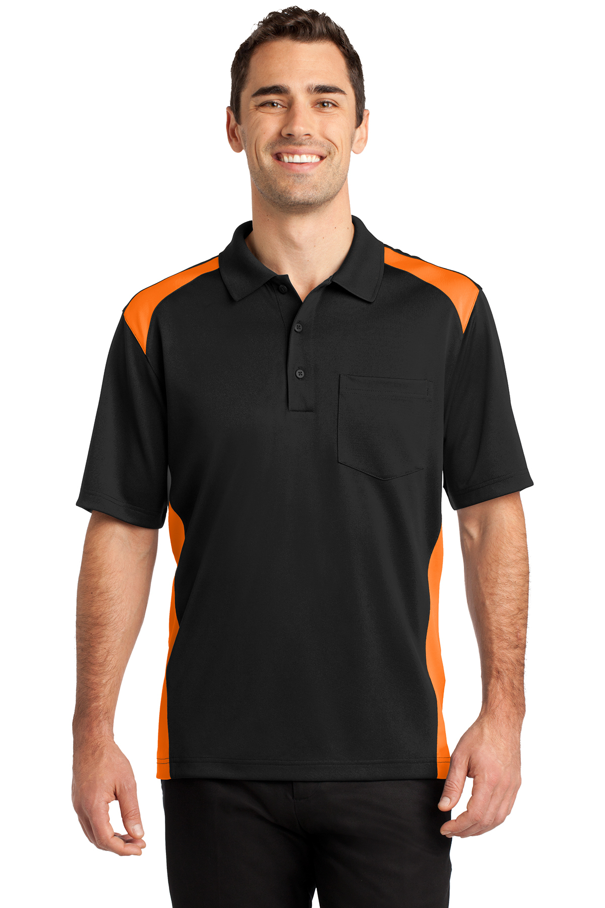fe00d338 CornerStone® Select Snag-Proof Two Way Colorblock Pocket Polo ...