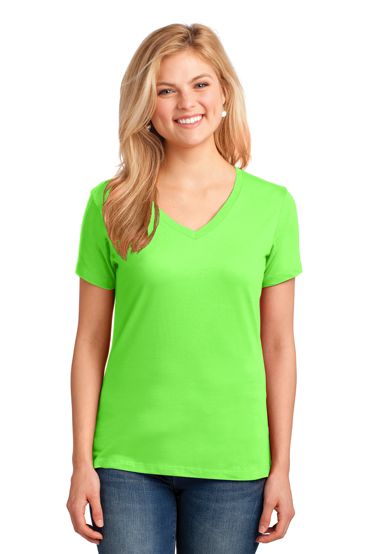 78ccb94f8a16 Port & Company® Ladies Core Cotton V-Neck Tee | 5-5.6 100 ...