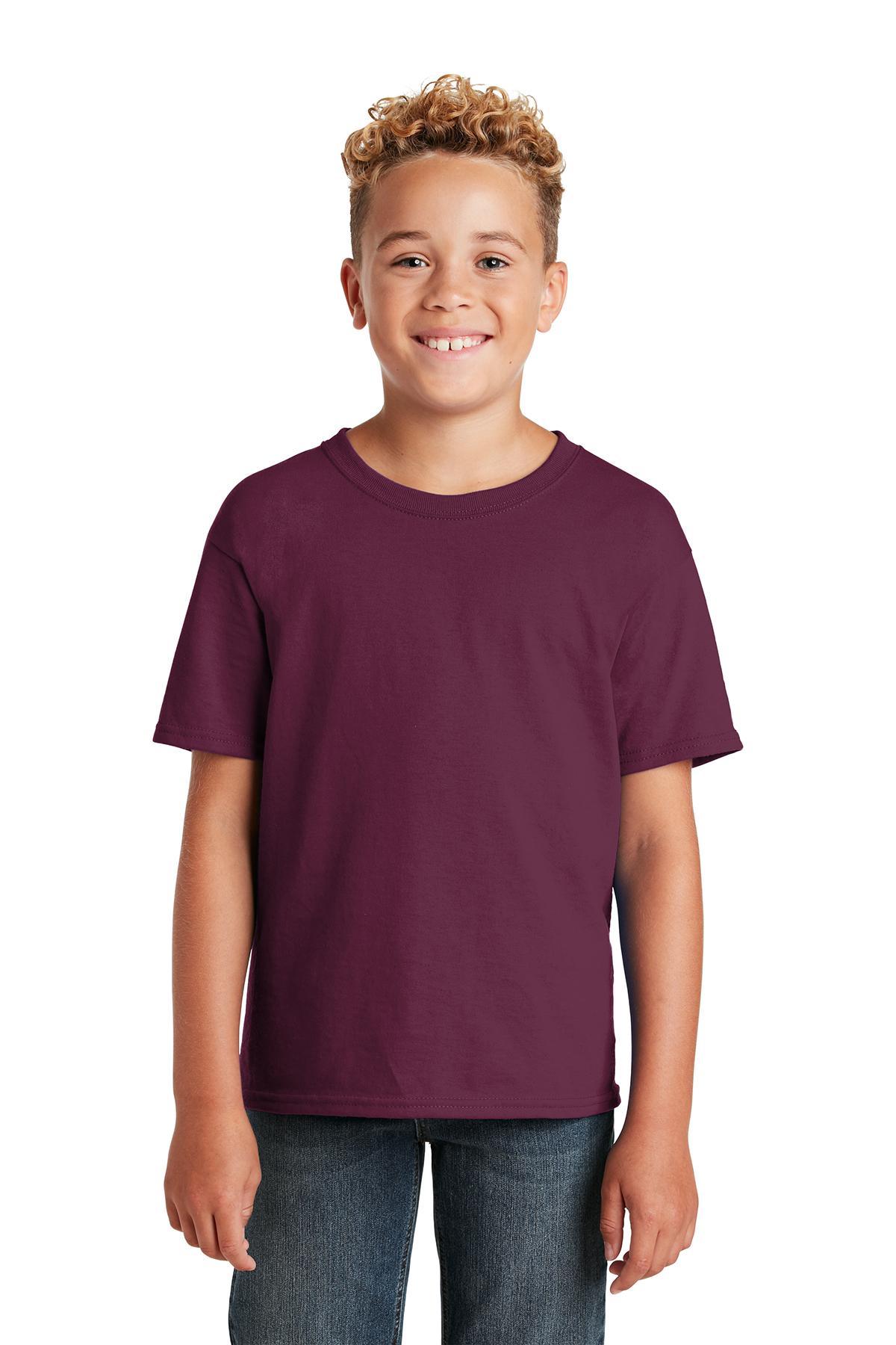 Jerzees Big Boys Rib Collar Tear Away Label T-Shirt Burnt Orange Small
