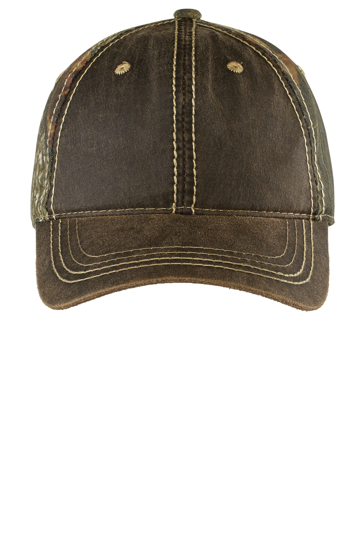 Oiled Leather Look Pigment Print Distressed Baseball Cap Unstructure Low Profile