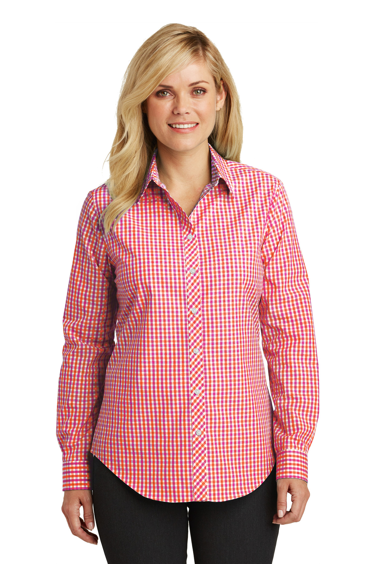 3c64fbf2 Port Authority® Ladies Long Sleeve Gingham Easy Care Shirt | Cotton ...