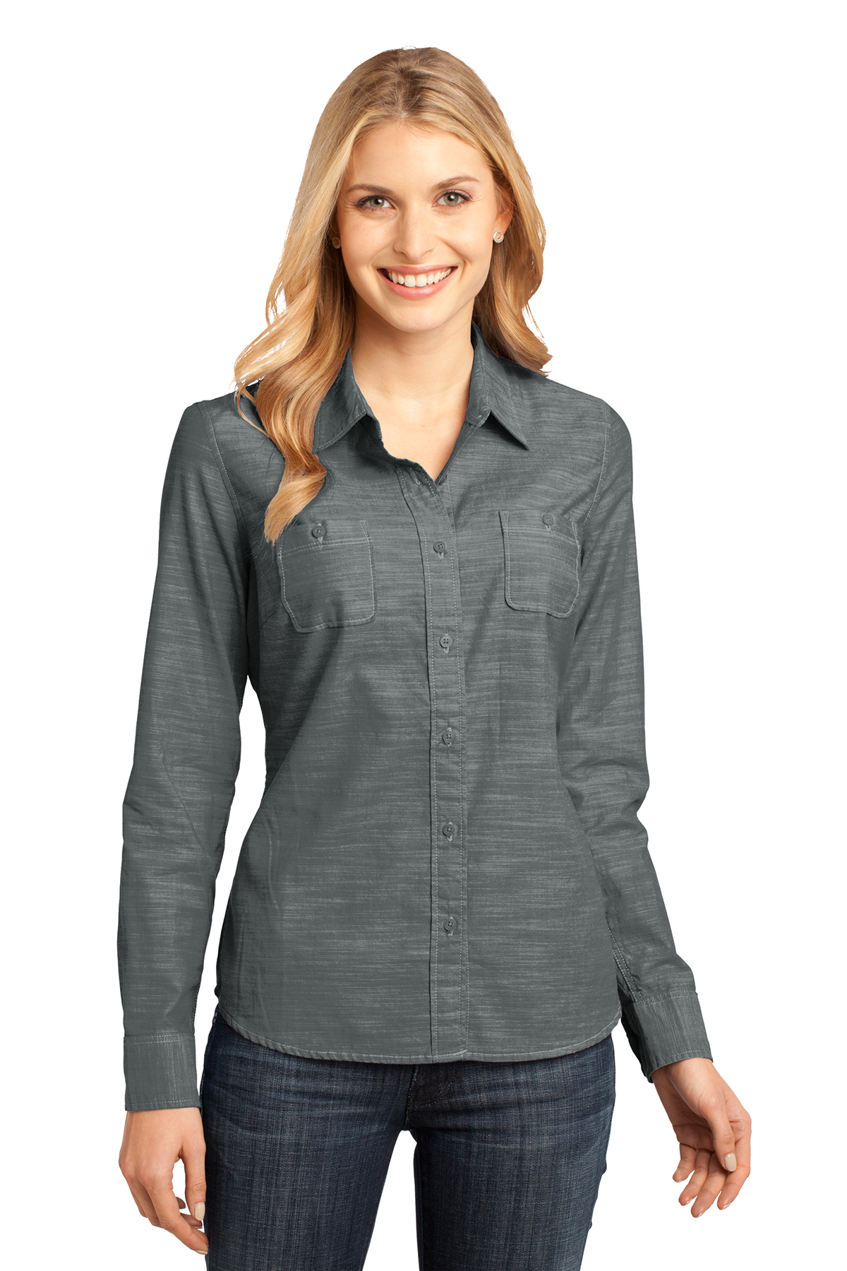 ae8ba0a9 District Made® - Ladies Long Sleeve Washed Woven Shirt | Cotton ...
