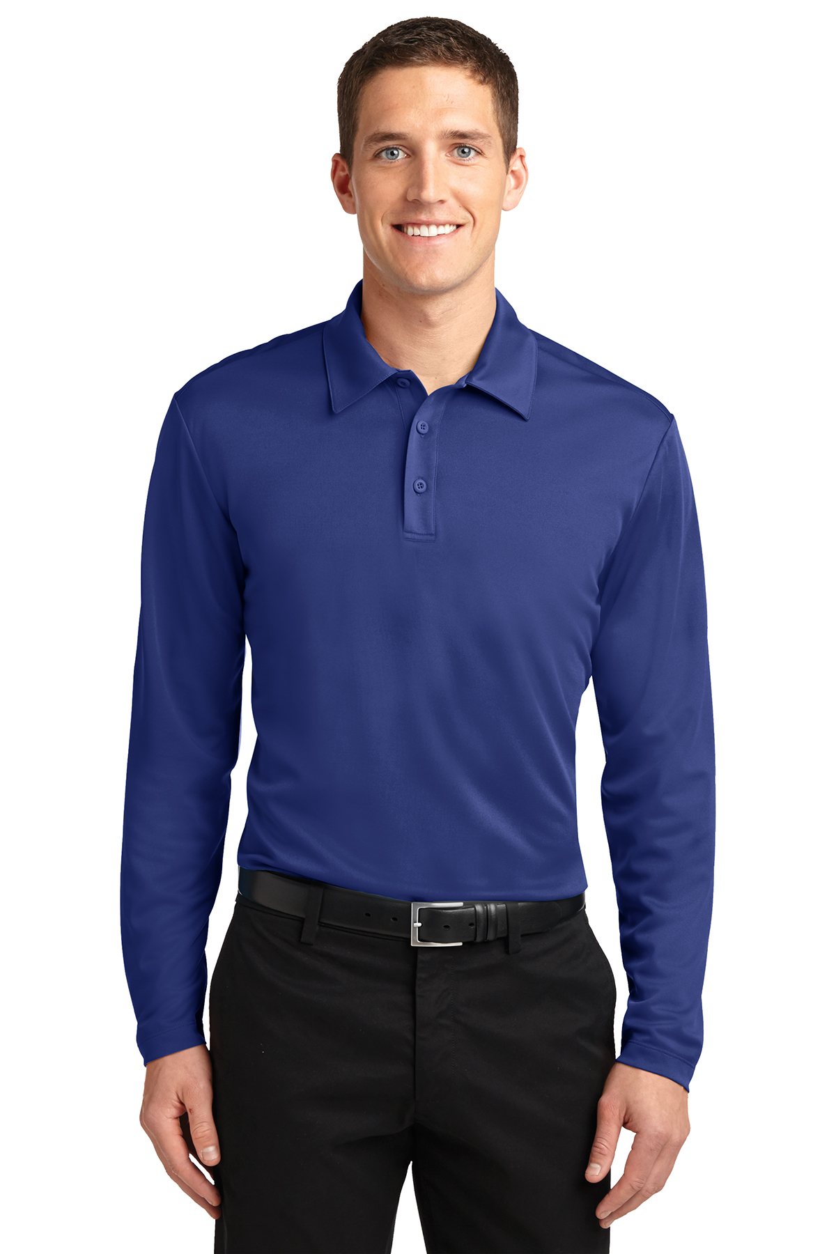 Port Authority® Silk Touch™ Performance Long Sleeve Polo. K540LS Steel Grey L btypPO