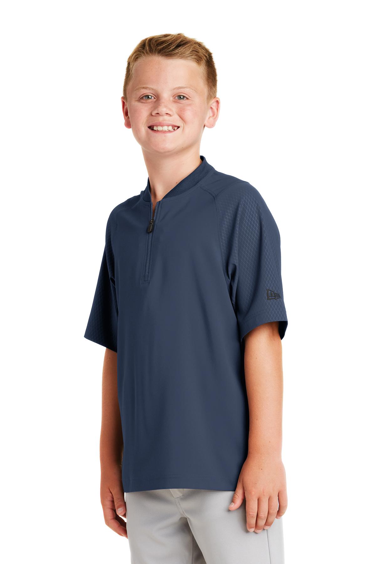 New Era 174 Youth Cage Short Sleeve 1 4 Zip Jacket Youth