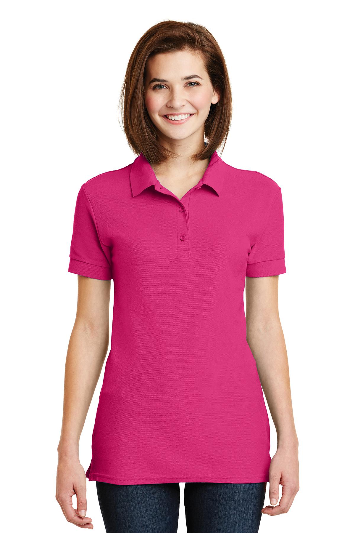 5 Pack Gildan Ladies 100/% Ringspun Premium Cotton Double Piqué Polo shirt Womens
