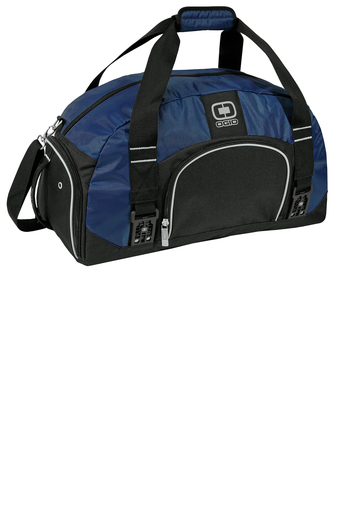 custom logoed navy blue duffel bag