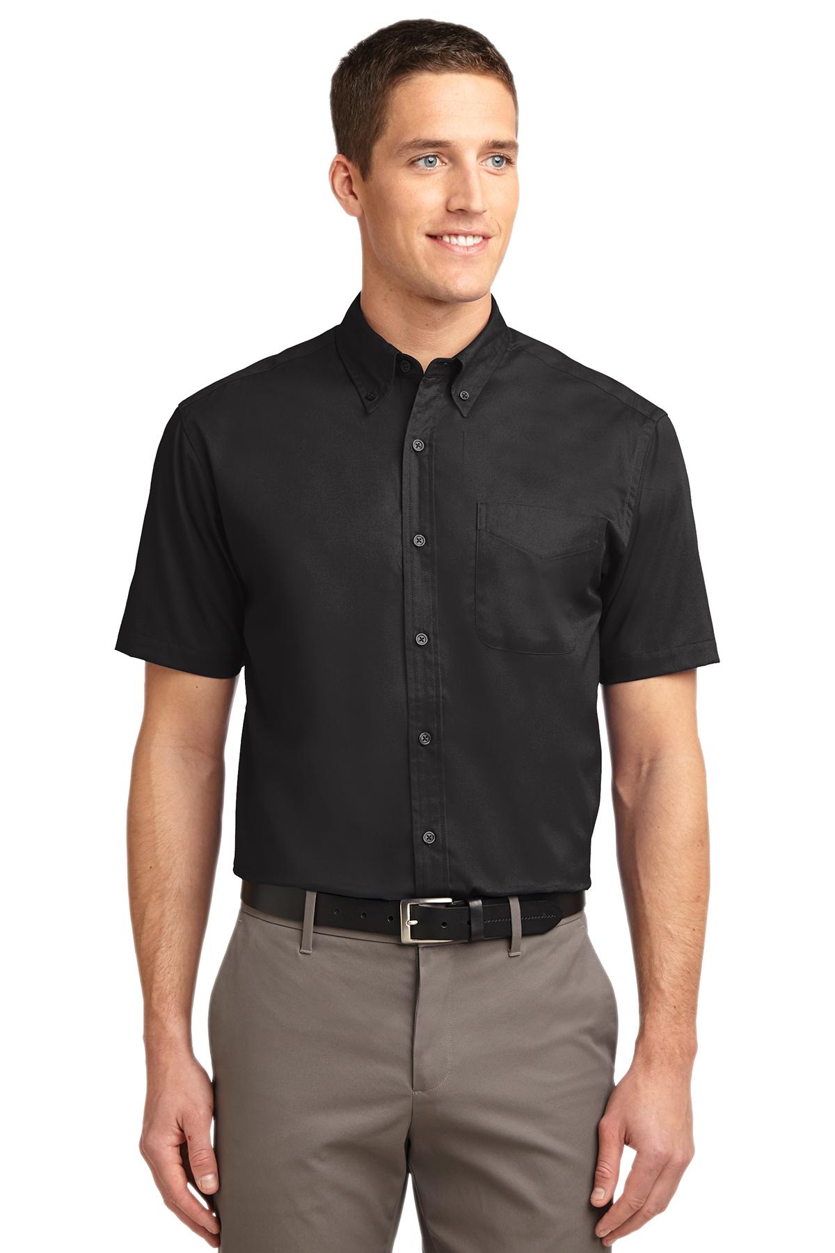 White//Lt Stone Port Authority Short Sleeve Easy Care Shirt