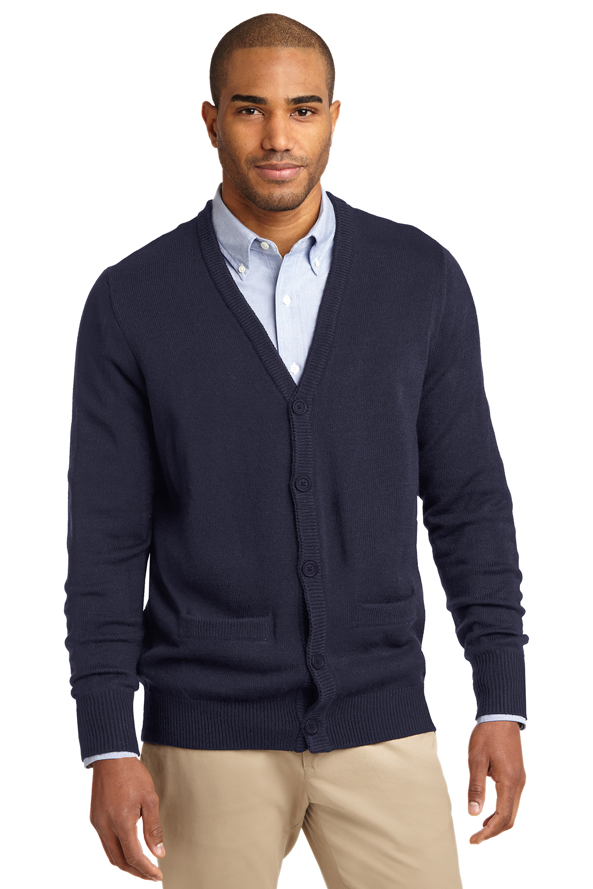 0d2486b6be Port Authority® Value V-Neck Cardigan Sweater with Pockets ...
