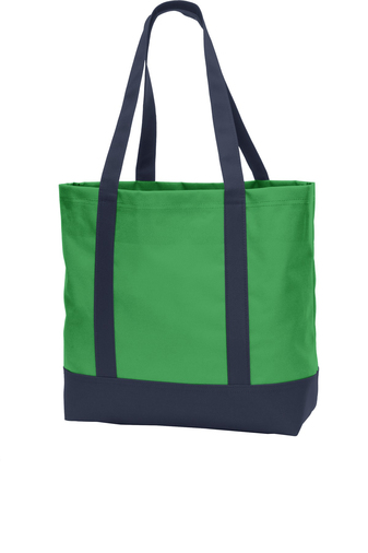 green tote bag with company logo