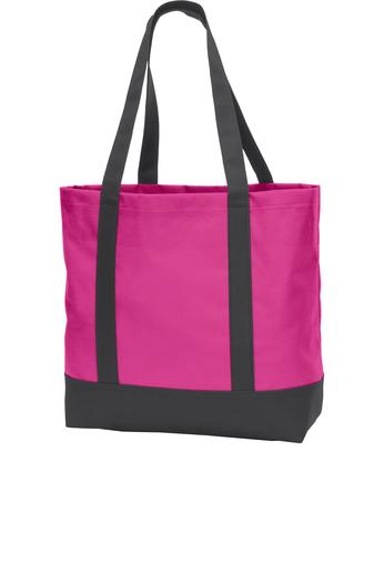 pink custom logo'd tote bag