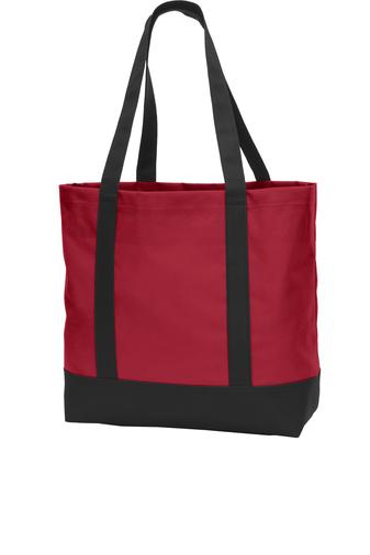 red custom logoed tote bag