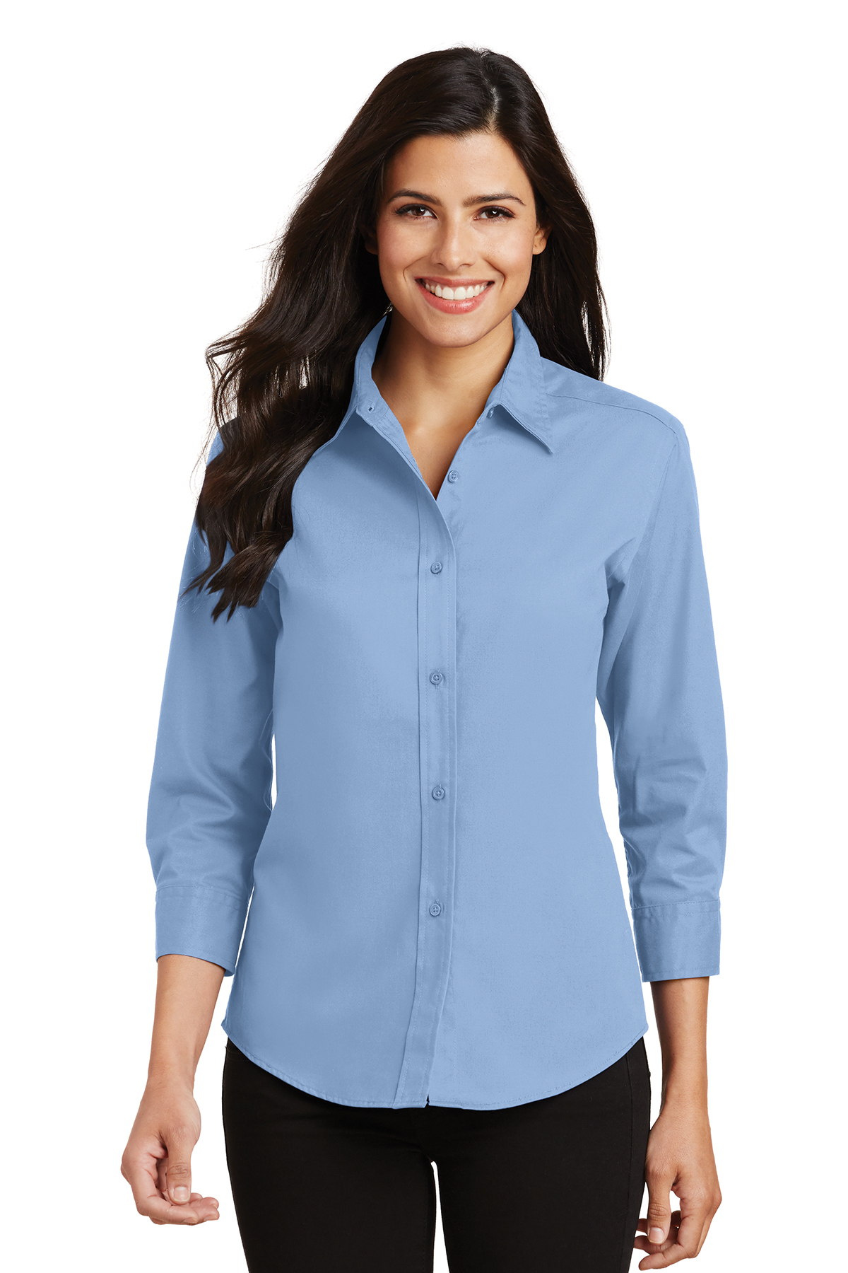 Port authority ladies 3 4 sleeve easy care shirt woven for Ez custom t shirts