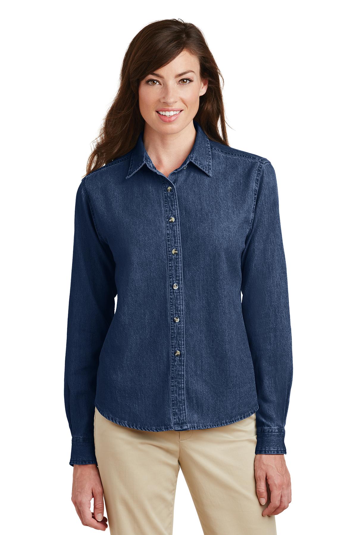 Port /& Company Mens Short Sleeve Value Denim Shirt