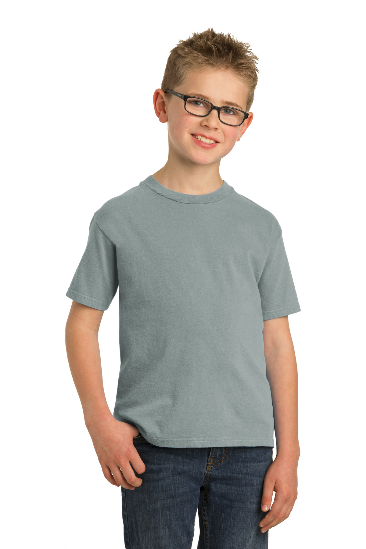 Port /& Company PC099Y Youth Essential Pigment-Dyed Tee XS Denim Blue