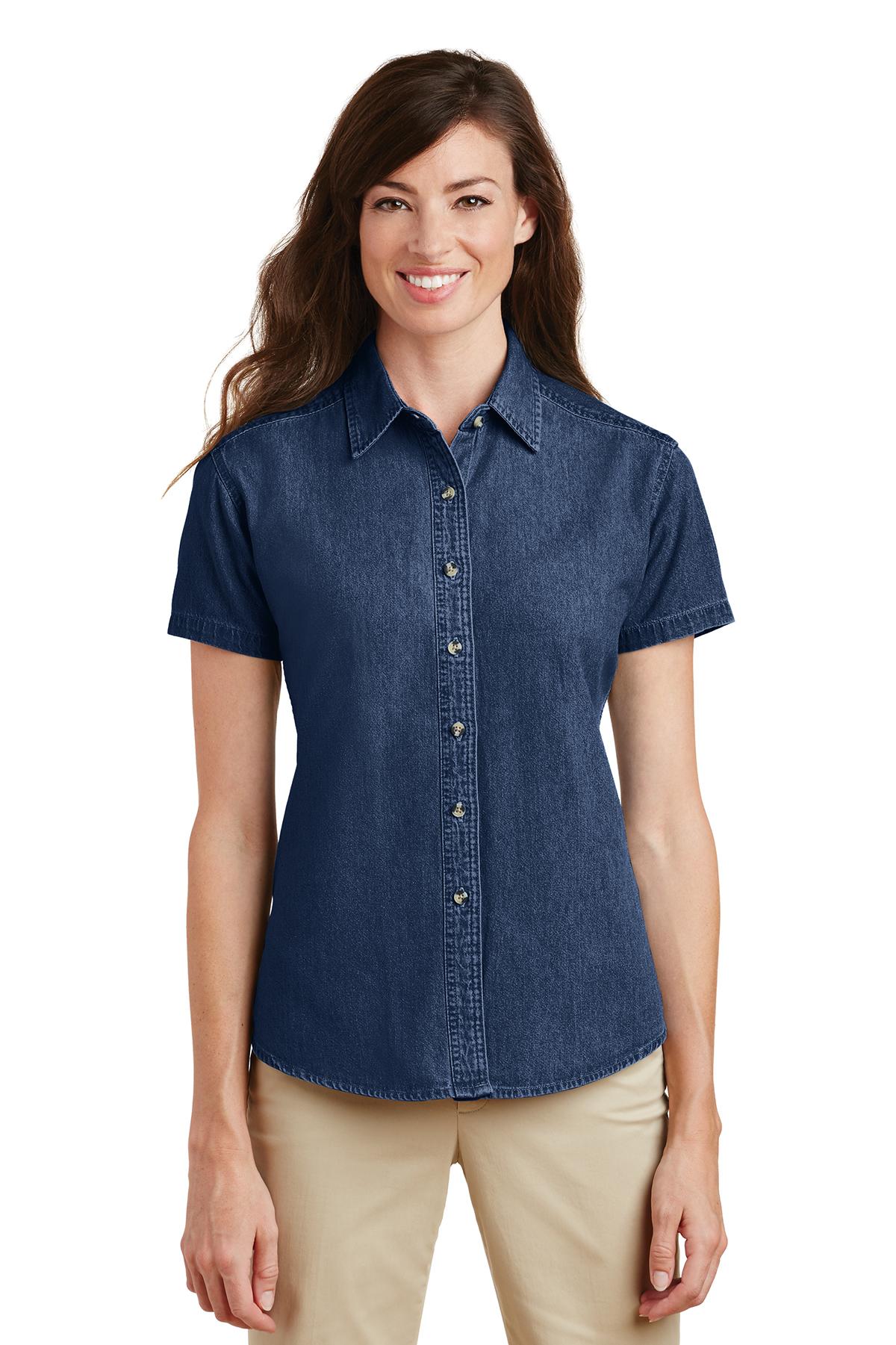84040275417 Port   Company® - Ladies Short Sleeve Value Denim Shirt