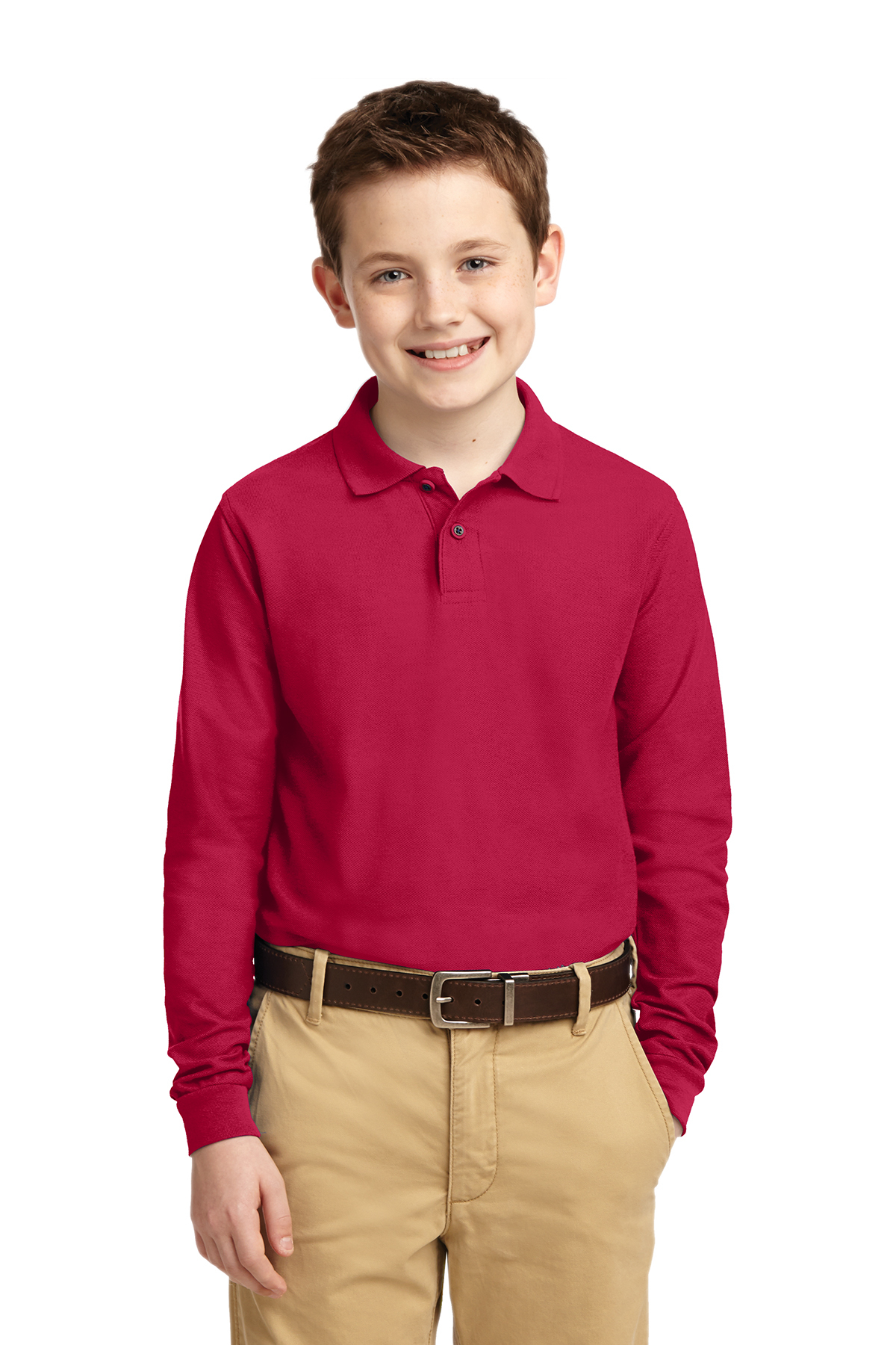 Port Authority Youth Long Sleeve Silk Touch Polo Y500LS Red L