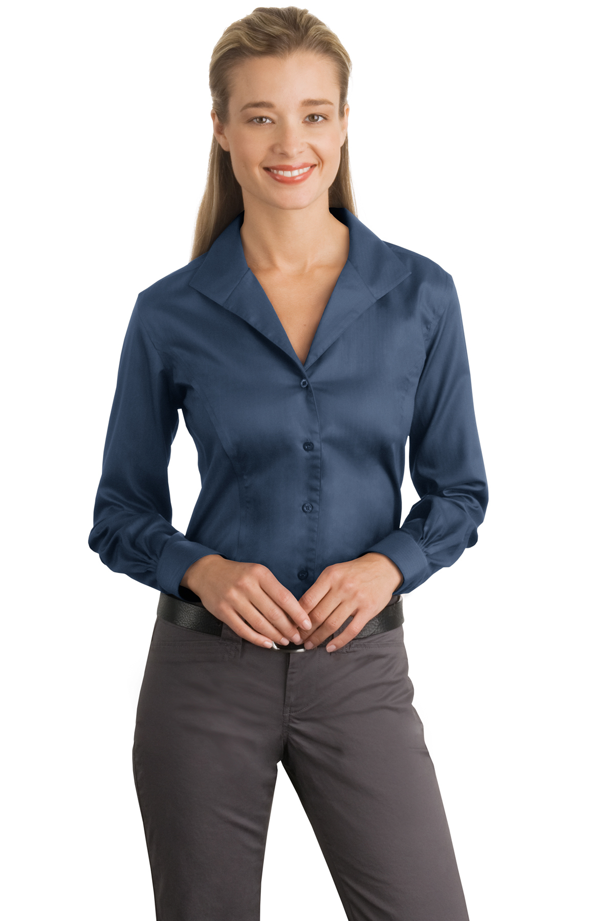 b92a8b17 CLOSEOUT Red House® - Ladies Herringbone Non-Iron Button-Down Shirt