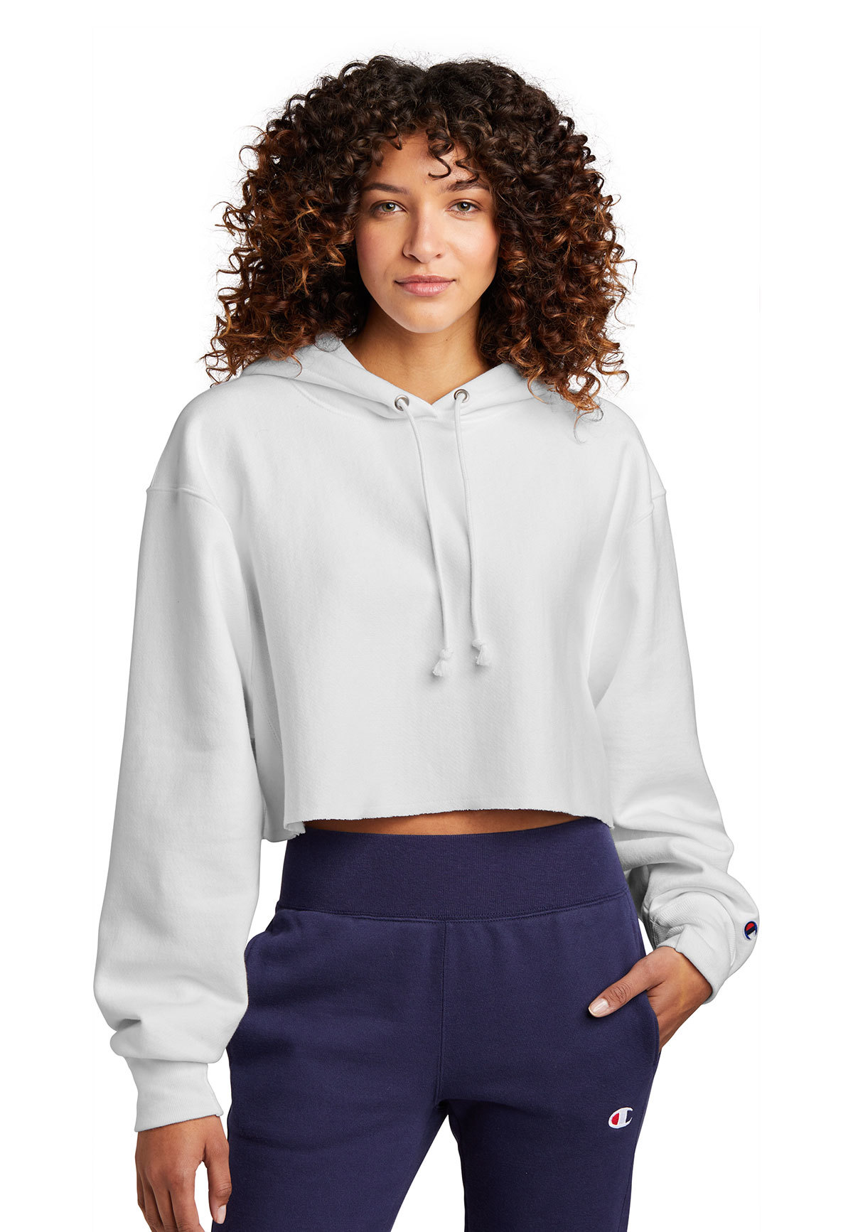 Champion Women S Reverse Weave Cropped Cut Off Hooded Sweatshirt Champion Brands Company Casuals [ 1733 x 1200 Pixel ]
