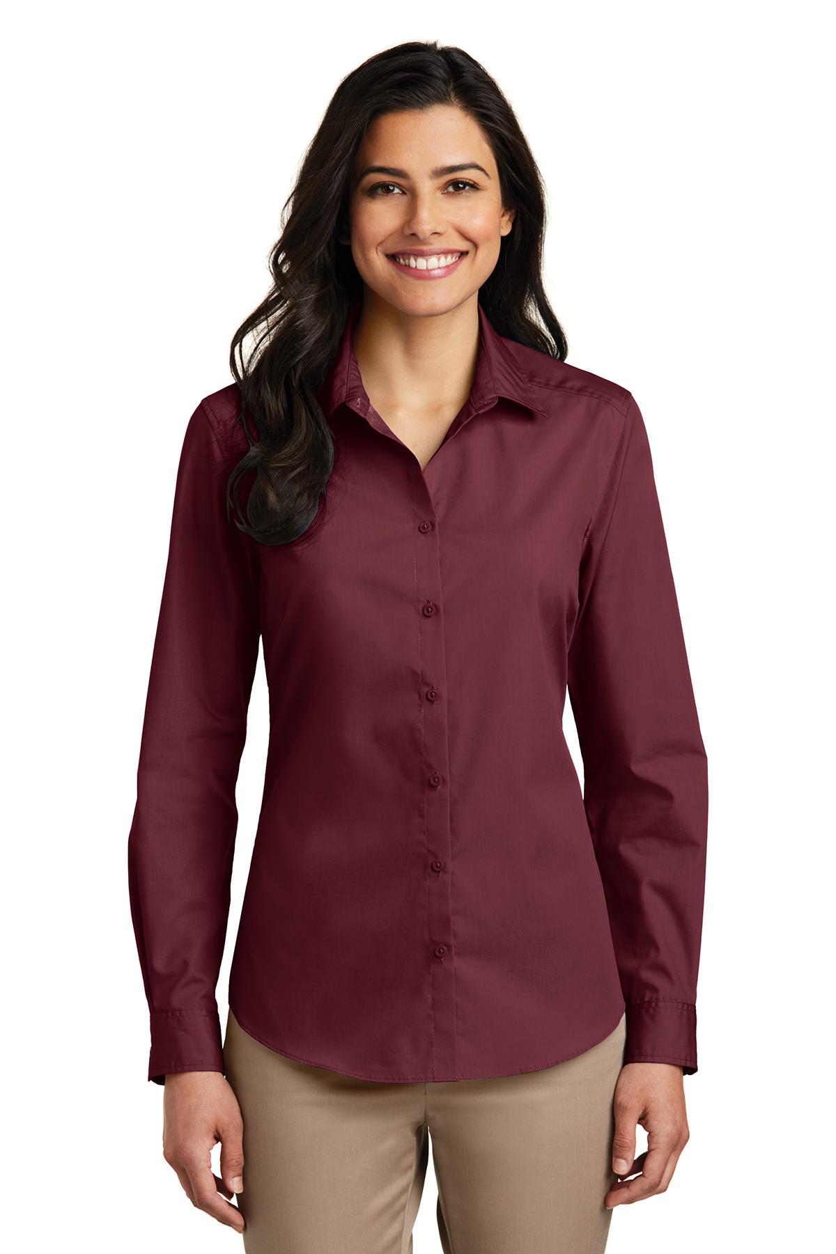 3b95ccd5ebb Port Authority® Ladies Long Sleeve Carefree Poplin Shirt