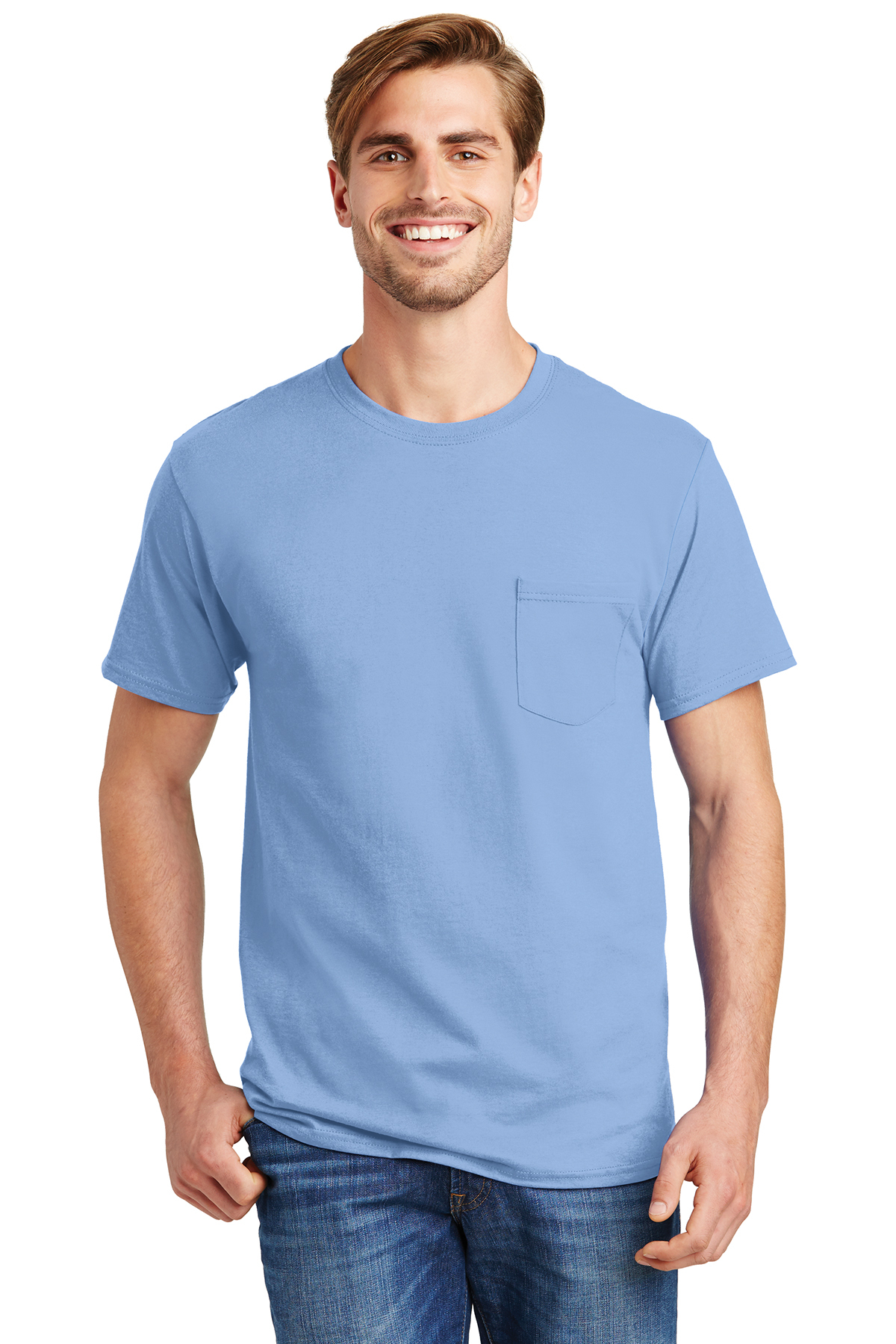 Hanes Tagless 100 Cotton T Shirt With Pocket 6 61 100
