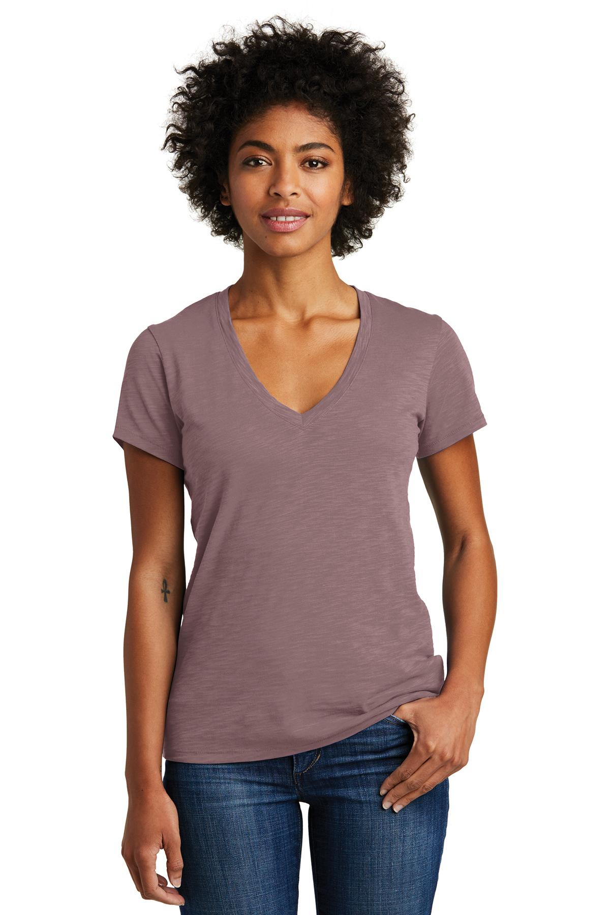 Alternative women 39 s weathered slub so low v neck tee for Low neck t shirts women s