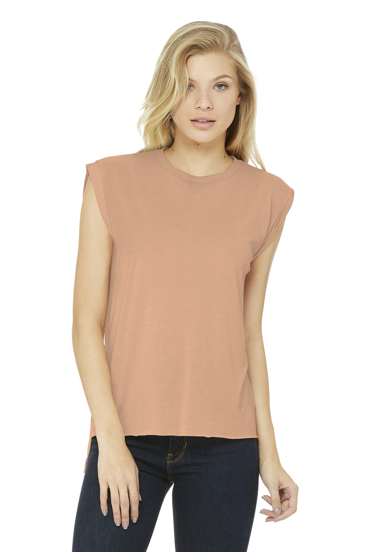 656ee2733f BELLA+CANVAS ® Women's Flowy Muscle Tee With Rolled Cuffs ...