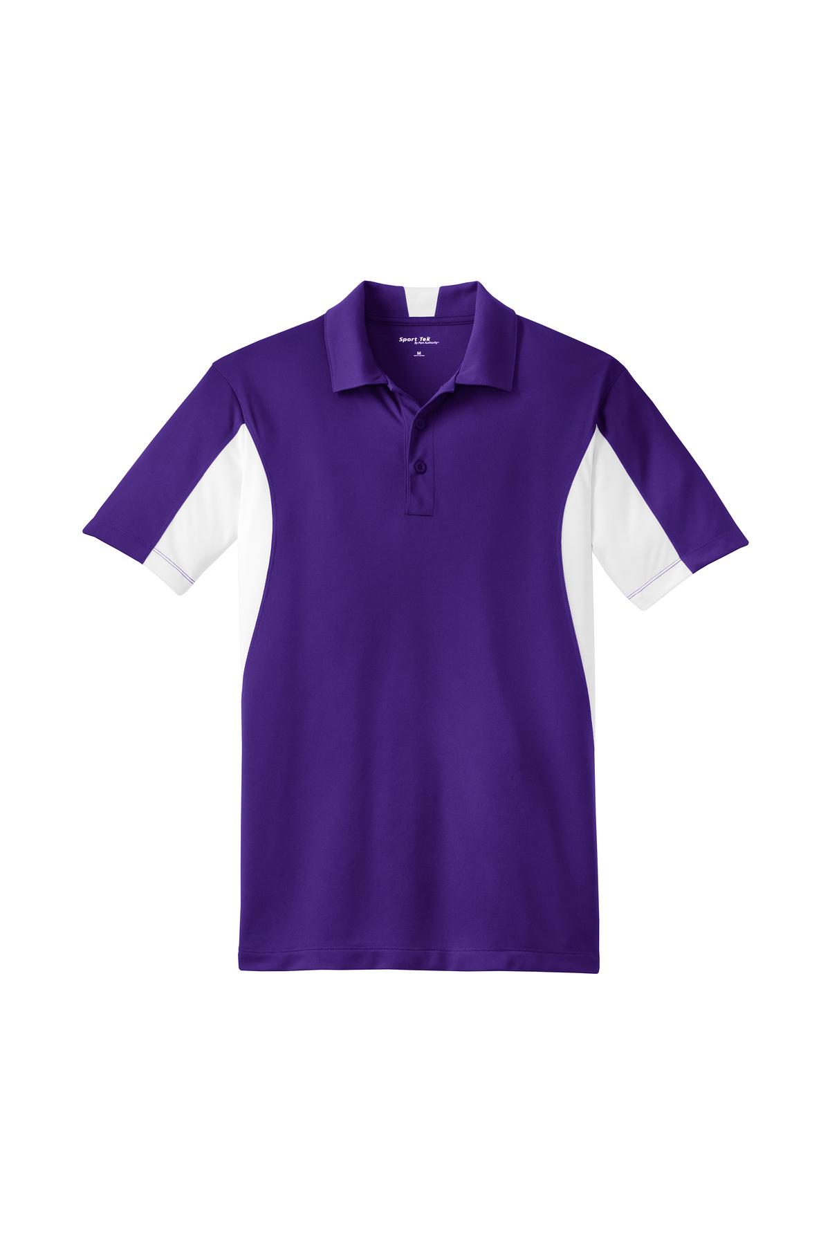 Sport-Tek Ladies Side Blocked Micropique Sport-Wick Polo XS Purple//White