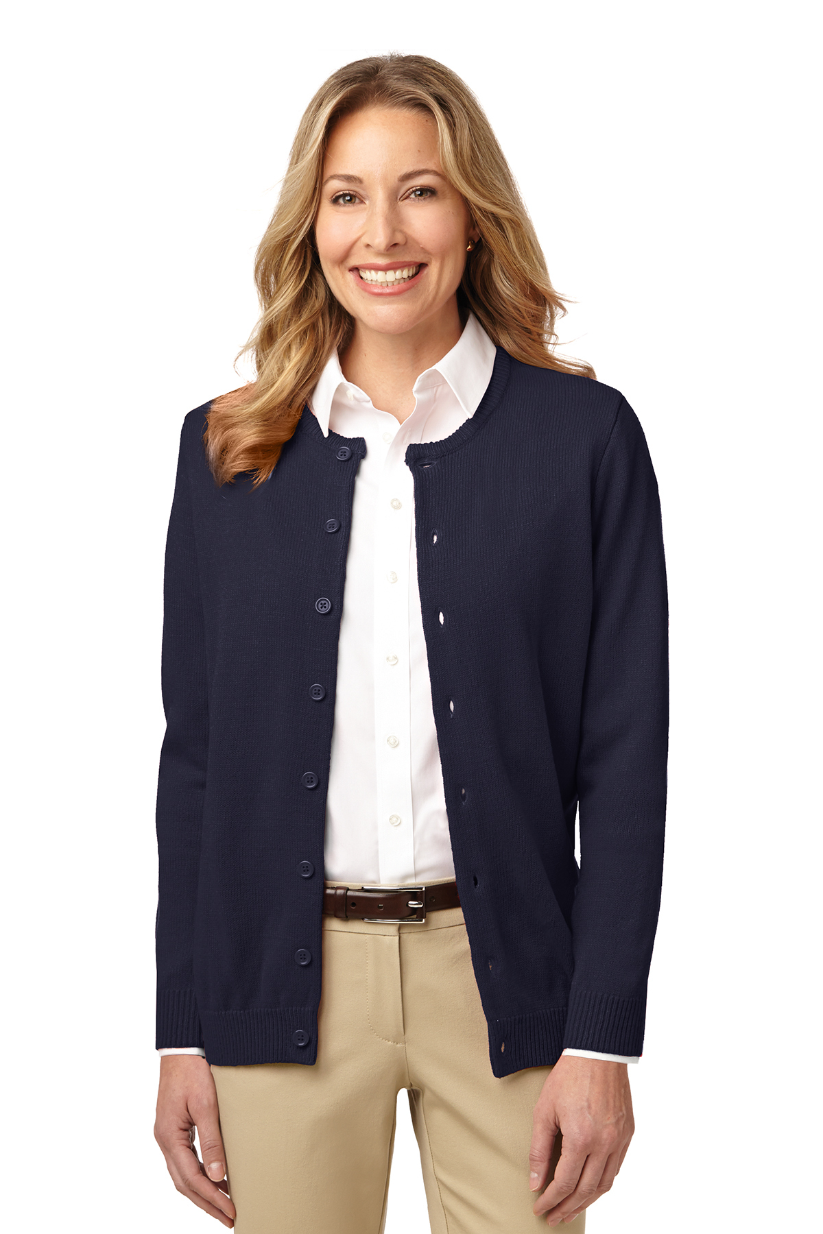 Port Authority® Ladies Value Jewel-Neck Cardigan Sweater  c4b5f923d
