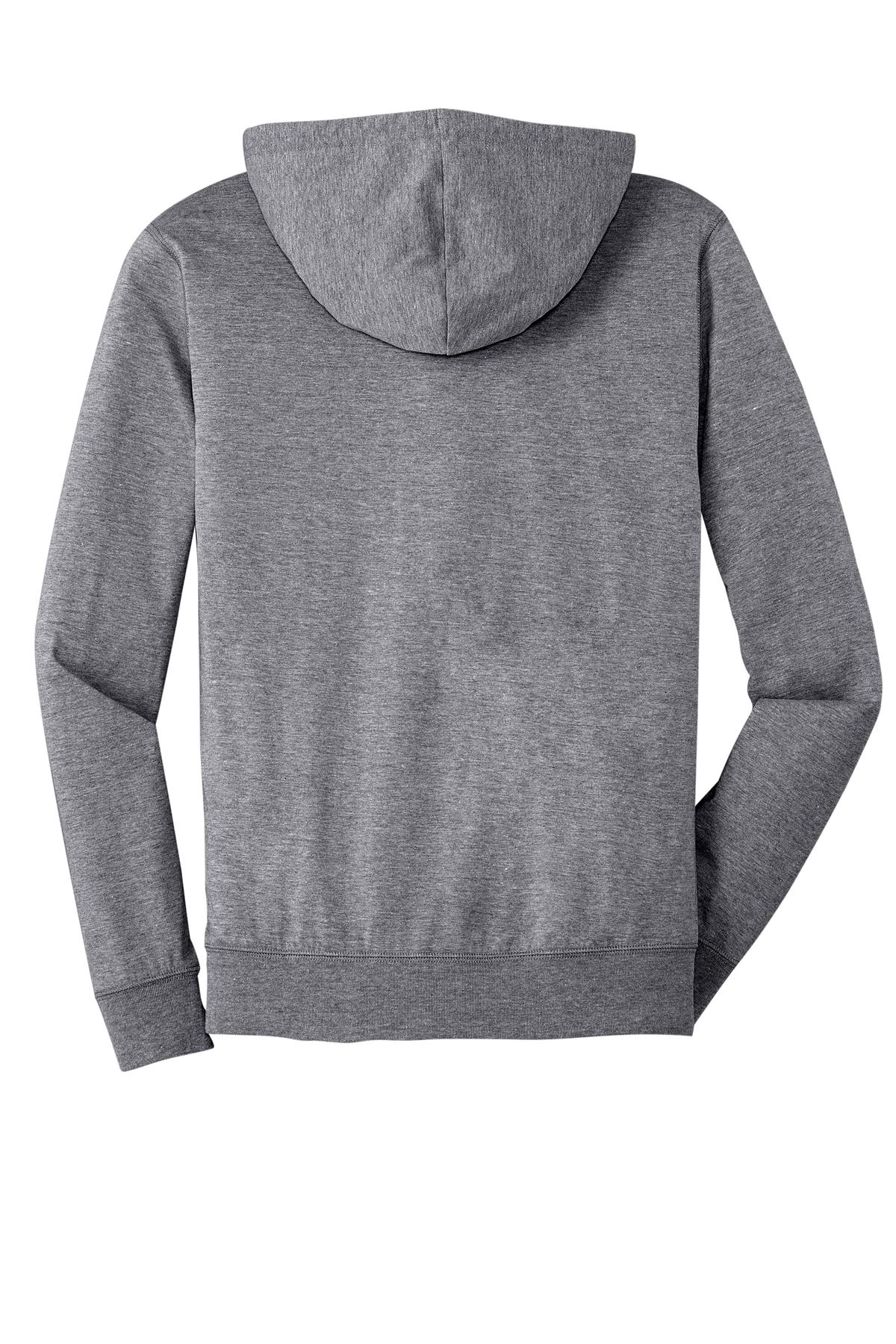 District Jersey Full Zip Hoodie Sweatshirts Fleece Sanmar Zipper Polos Young Grey 1