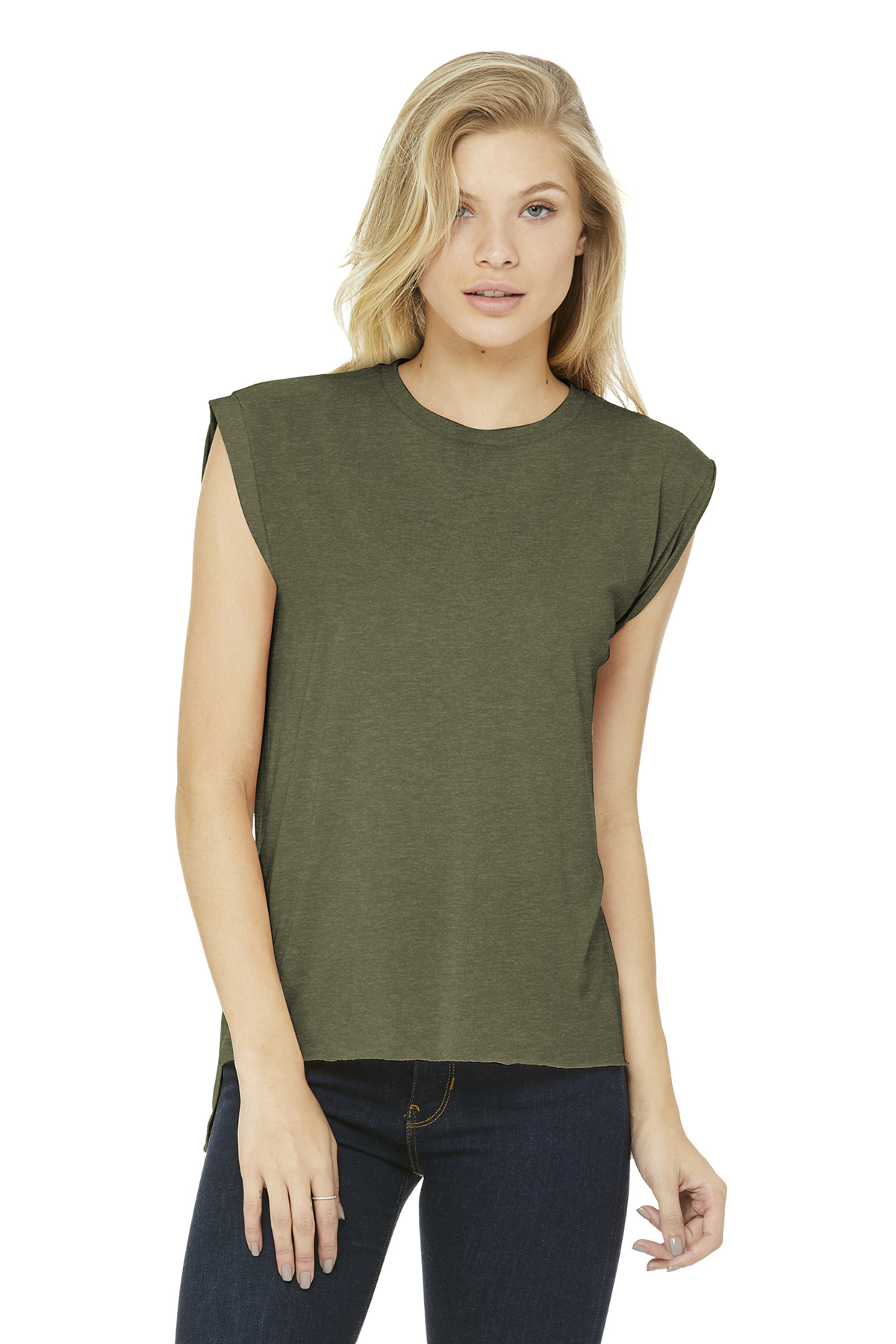 067ac393b01 BELLA+CANVAS ® Women s Flowy Muscle Tee With Rolled Cuffs ...