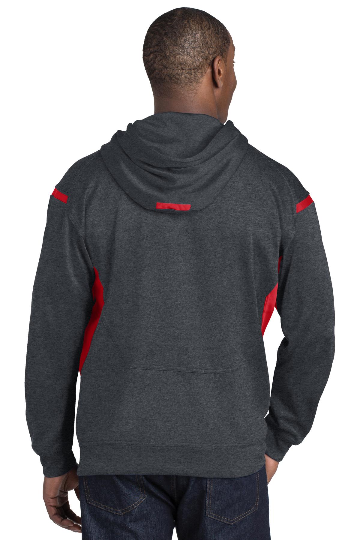 Grey Heather//True Red Sport Tek Tall Tech Fleece Hooded Sweatshirt-4XLT