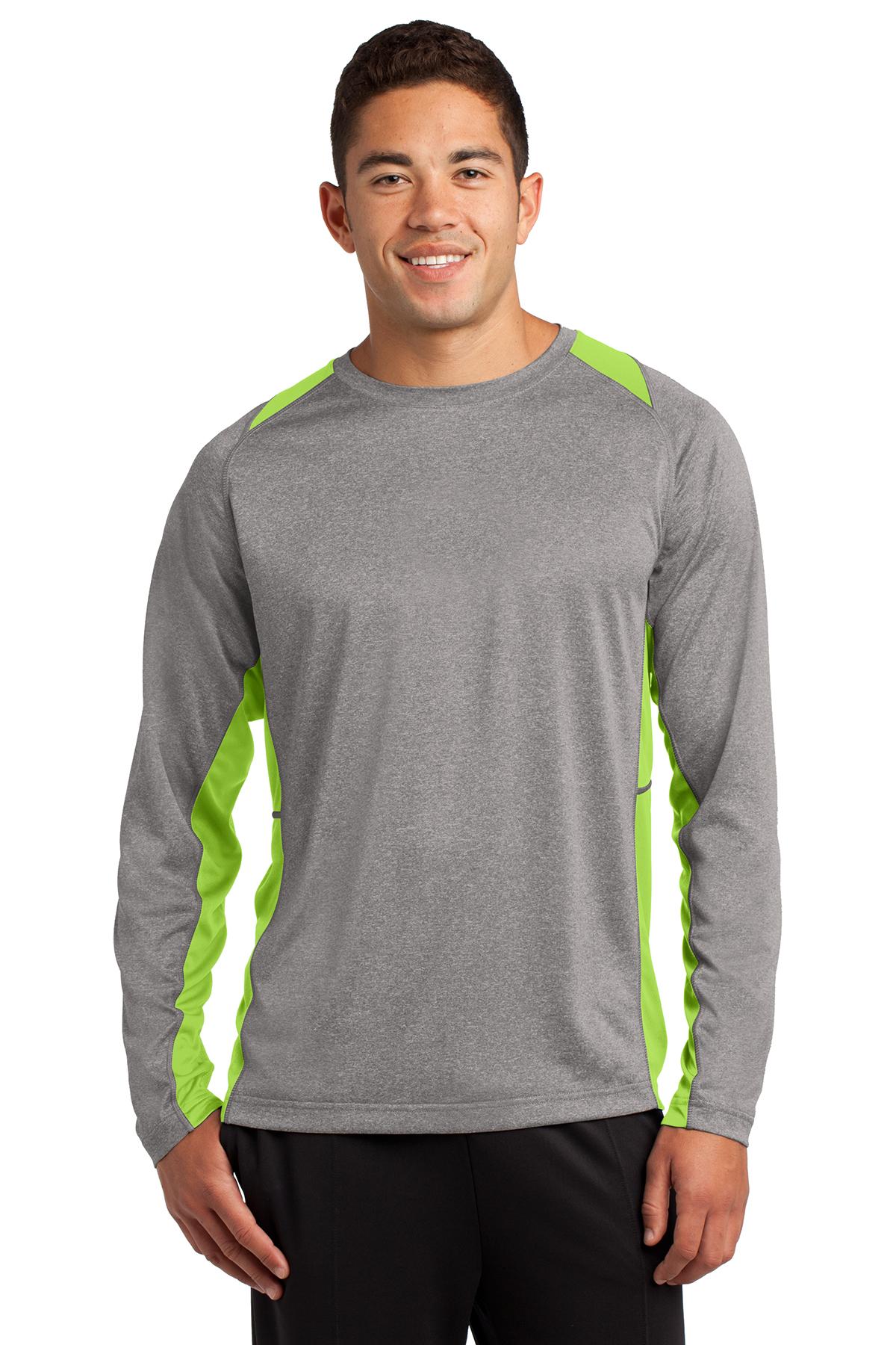 418458b5 Sport-Tek® Long Sleeve Heather Colorblock Contender™ Tee ...