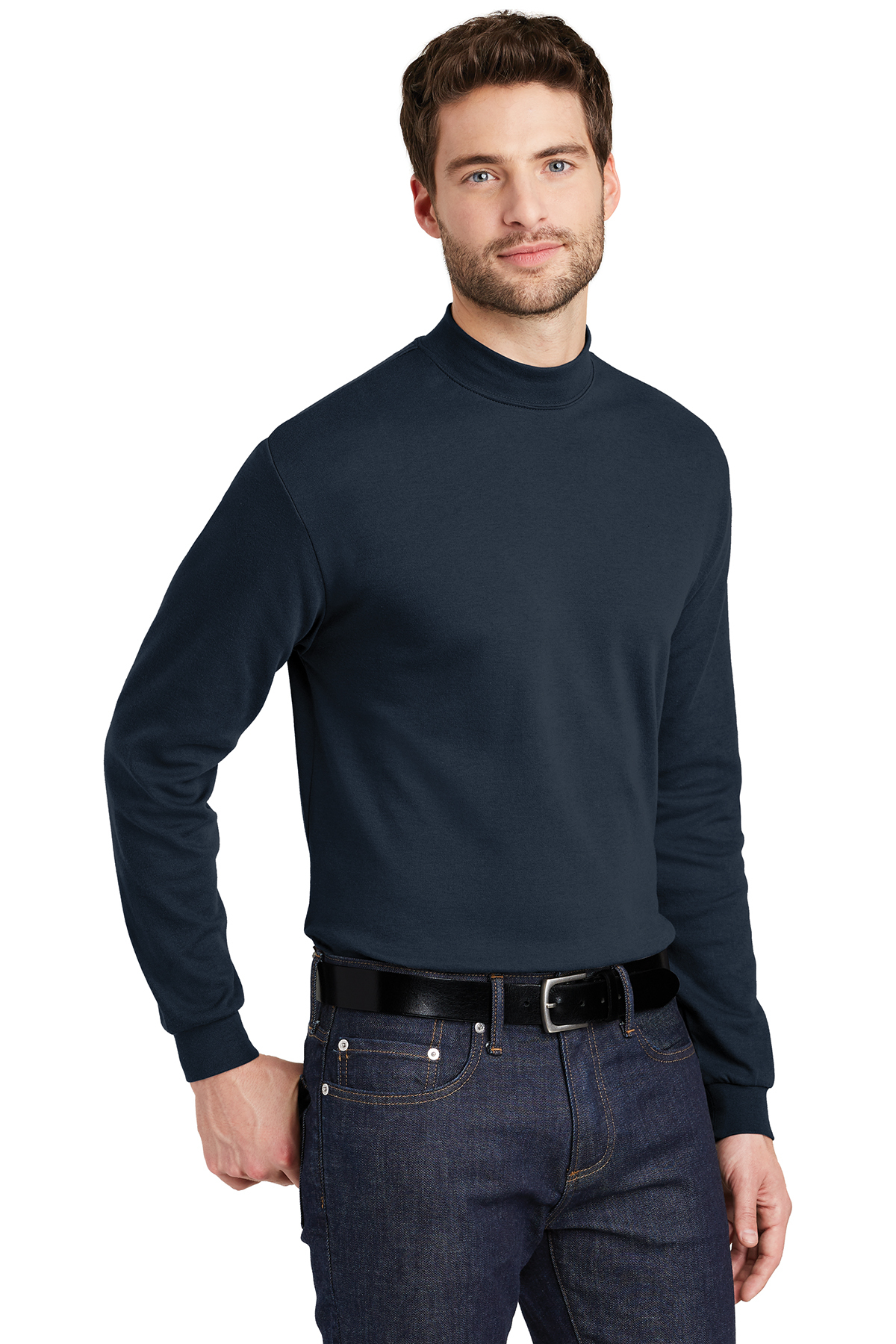 PORT AUTHORITY MOCK TURTLE NECK LONG SLEEVE SHIRT VARIOUS SIZES AND COLORS