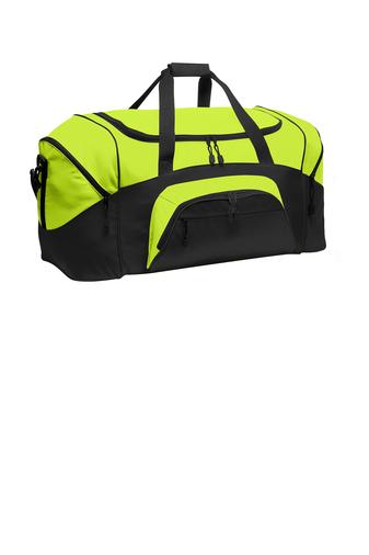 custom logoed yellow duffel bag
