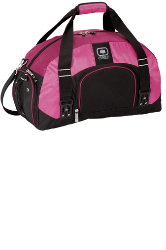 custom logo pink duffel bag
