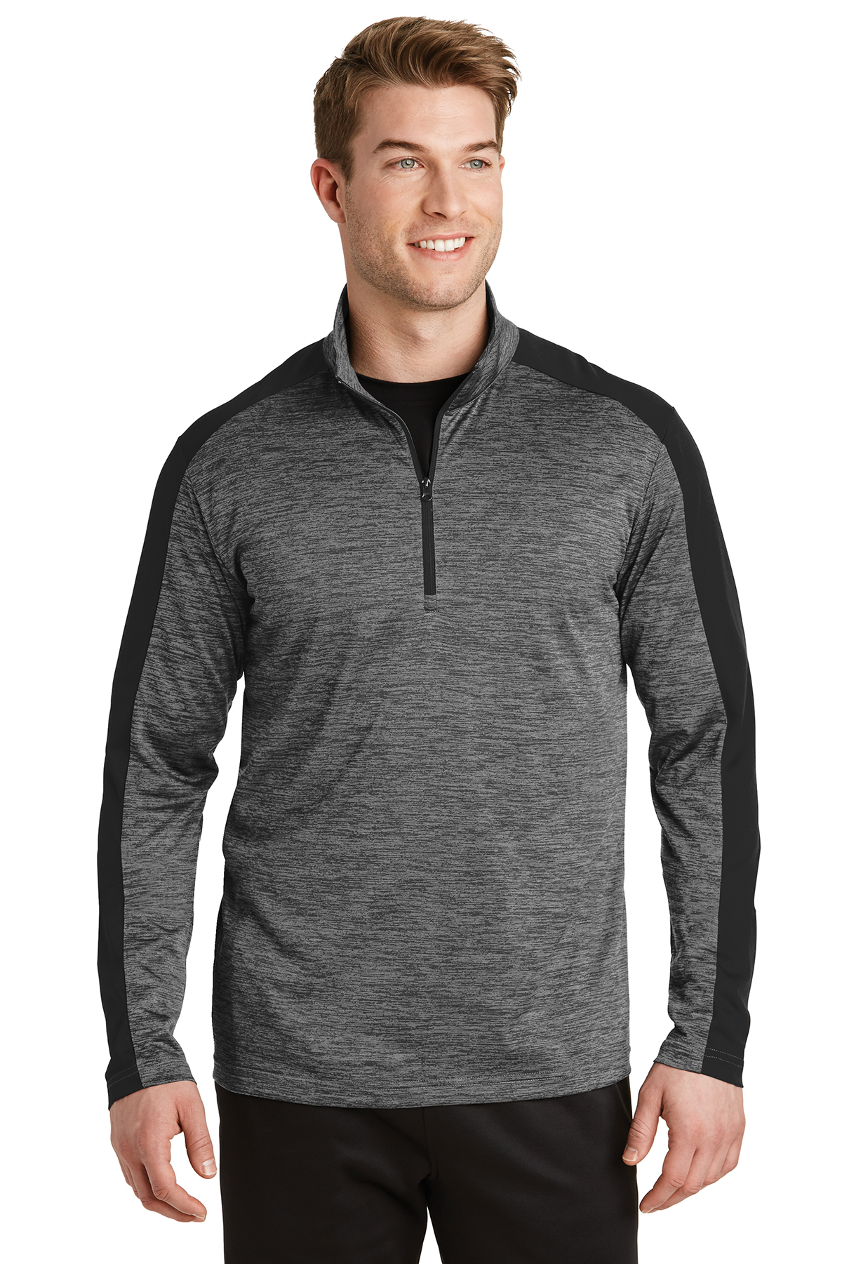 beb179ad679 Sport-Tek® PosiCharge® Electric Heather Colorblock 1 4-Zip Pullover ...