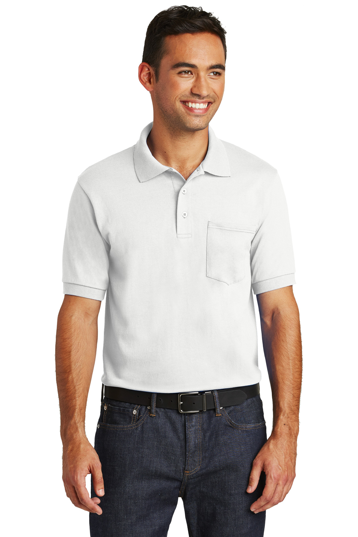 61d999ad Port & Company® Core Blend Jersey Knit Pocket Polo   Easy Care ...